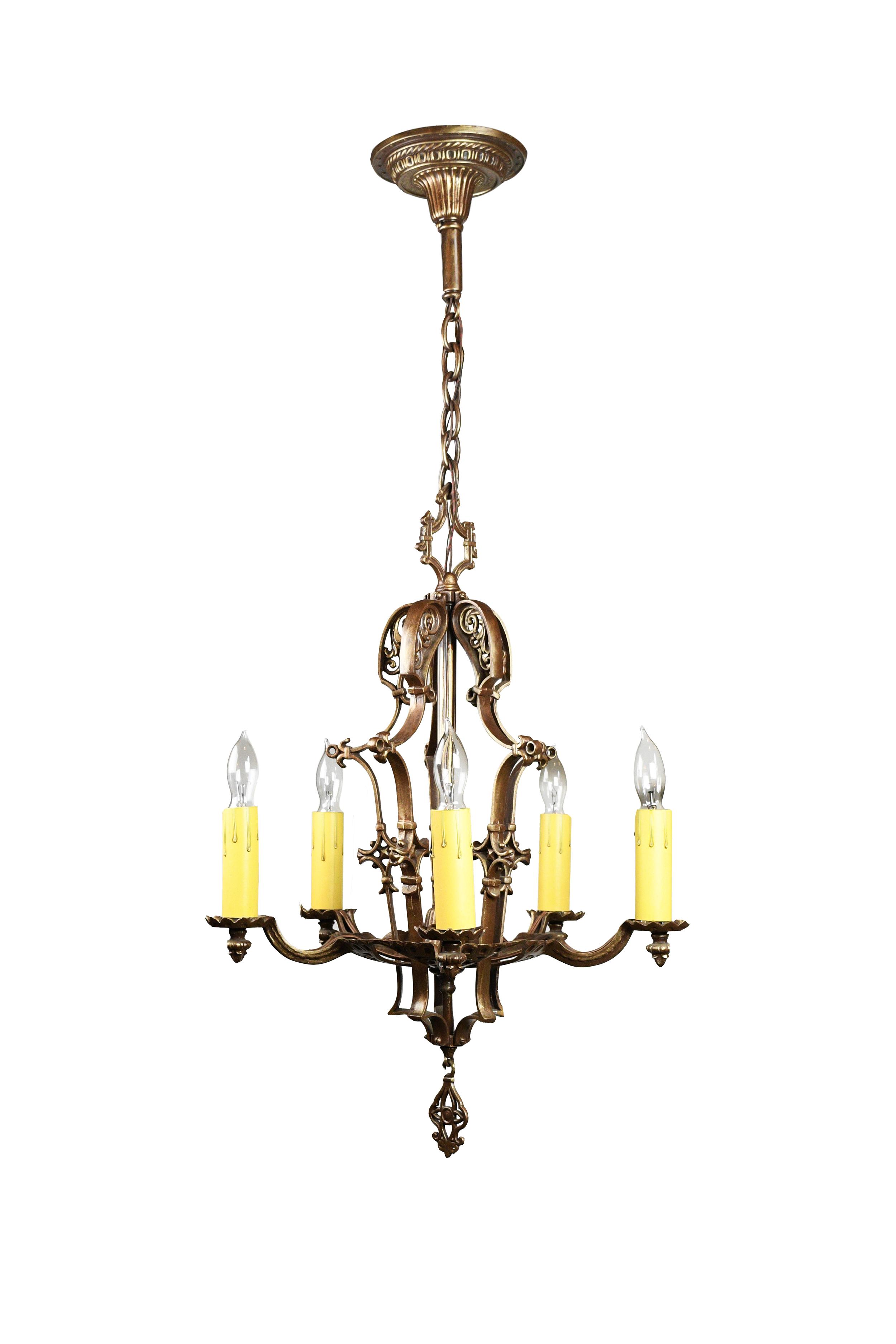 cast five light tudor chandelier