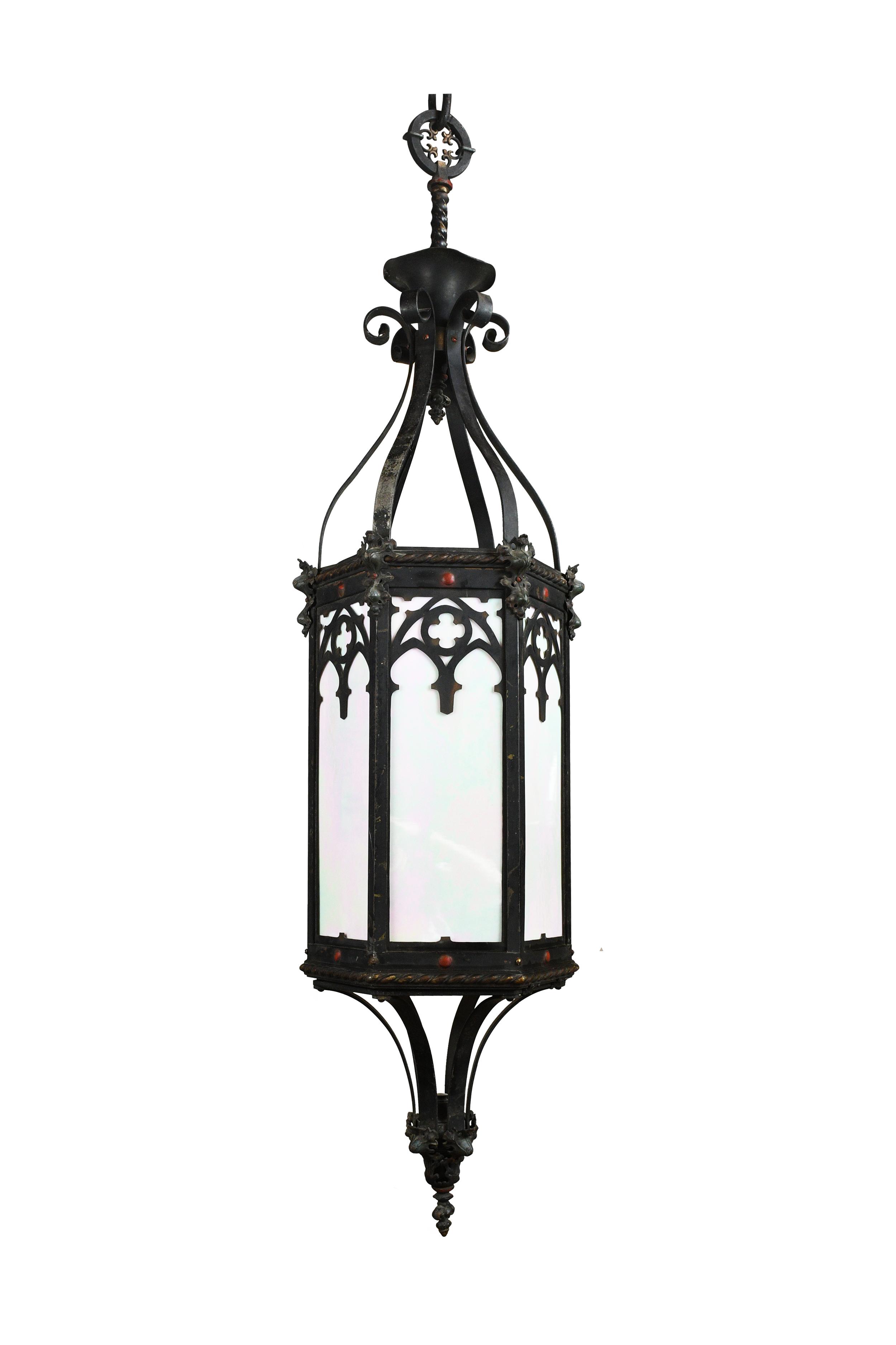 lantern pendant with iridescent glass