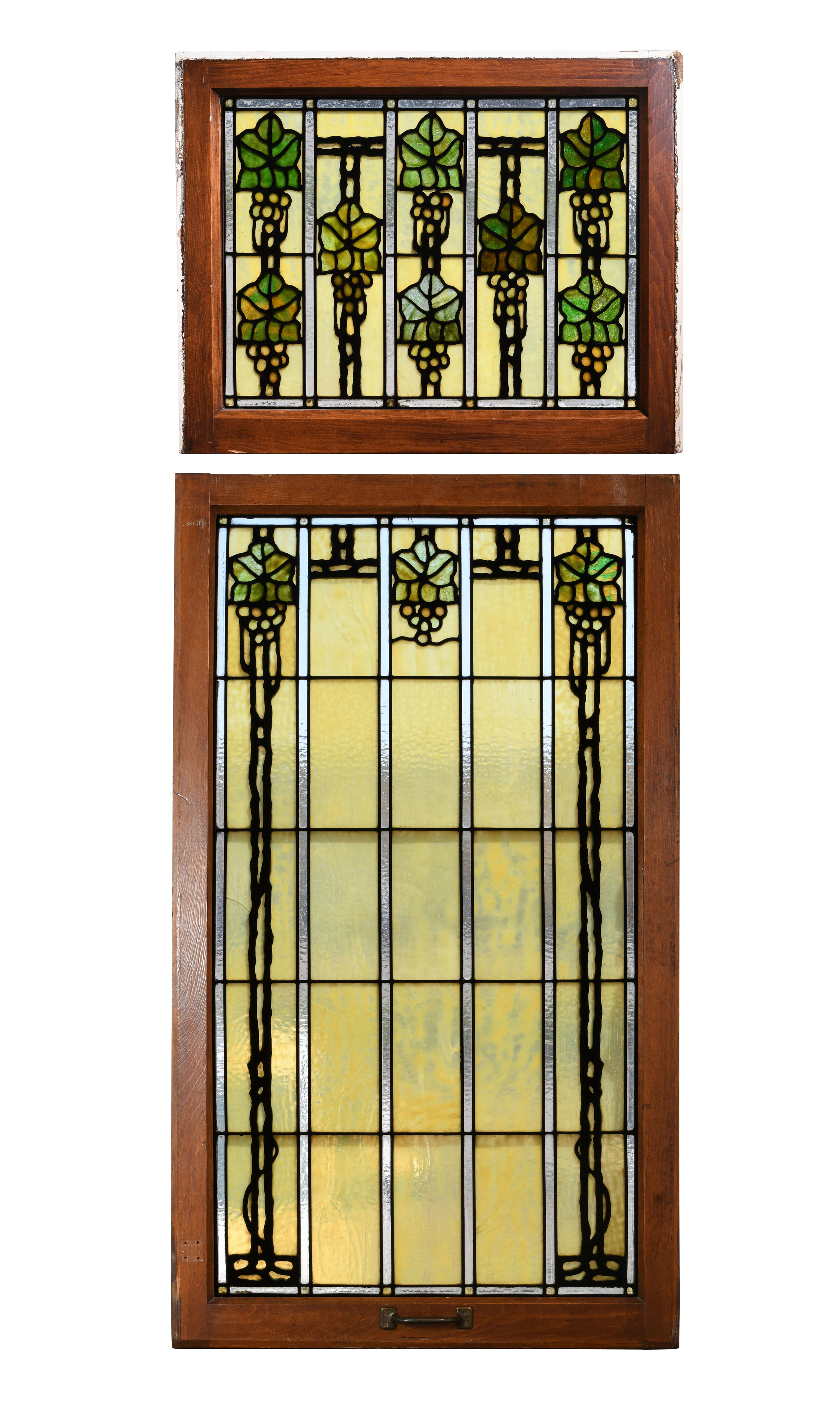bradstreet grape leaves stained glass window set