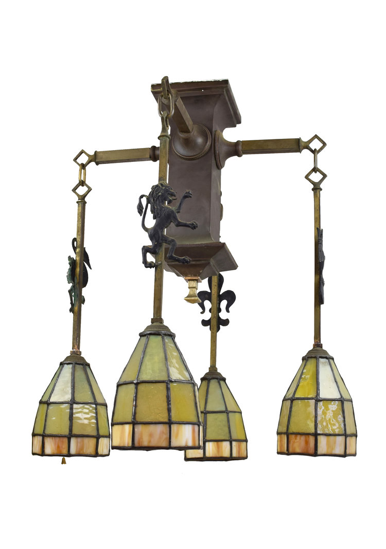 Arts & Crafts Chandelier with Leaded Glass Shades