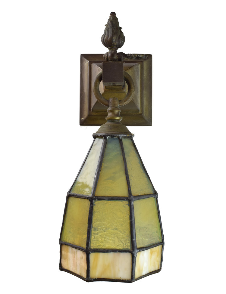 Arts & Crafts Sconce with Leaded Glass Shade