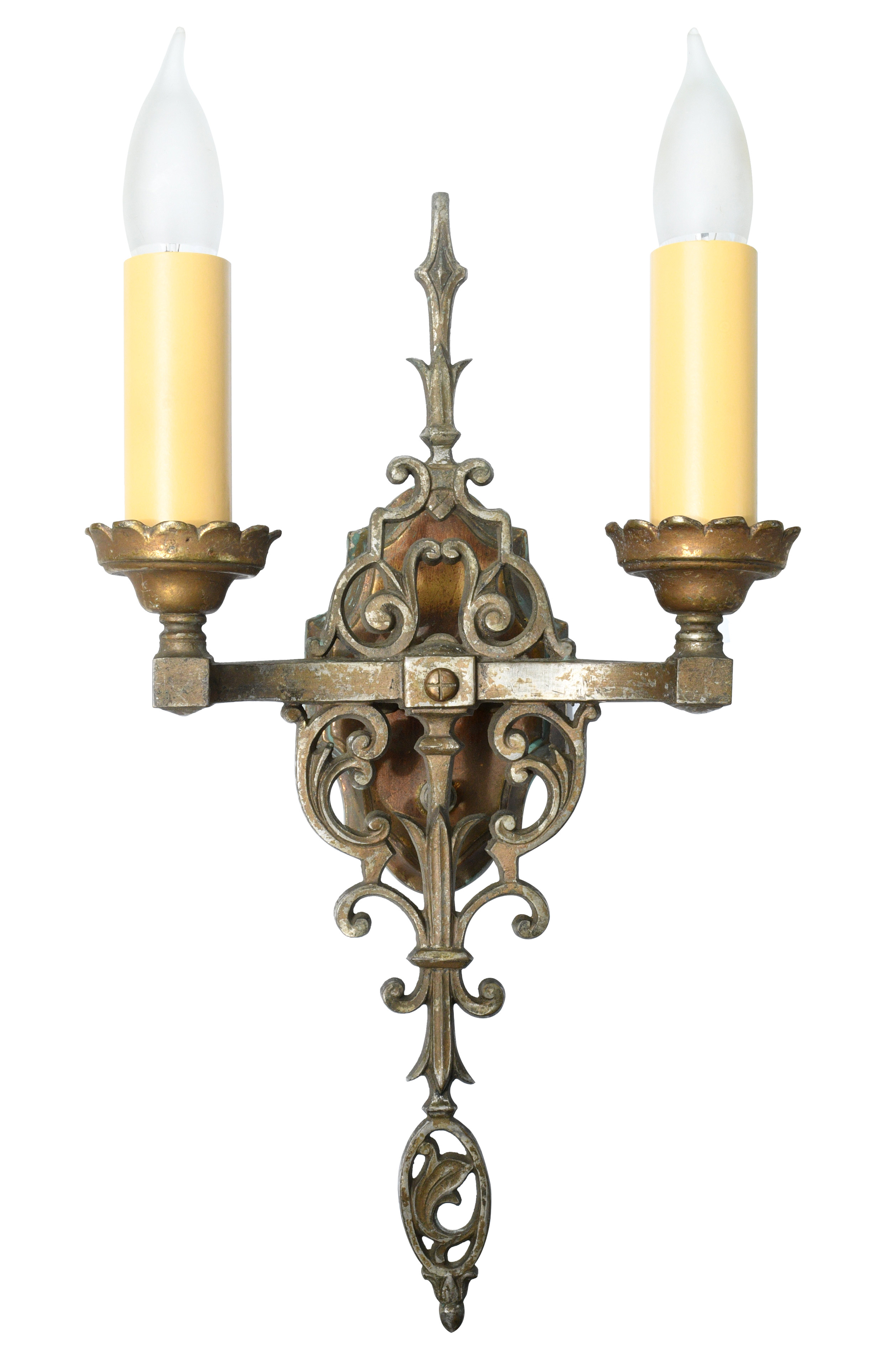 brass two candle tudor sconce