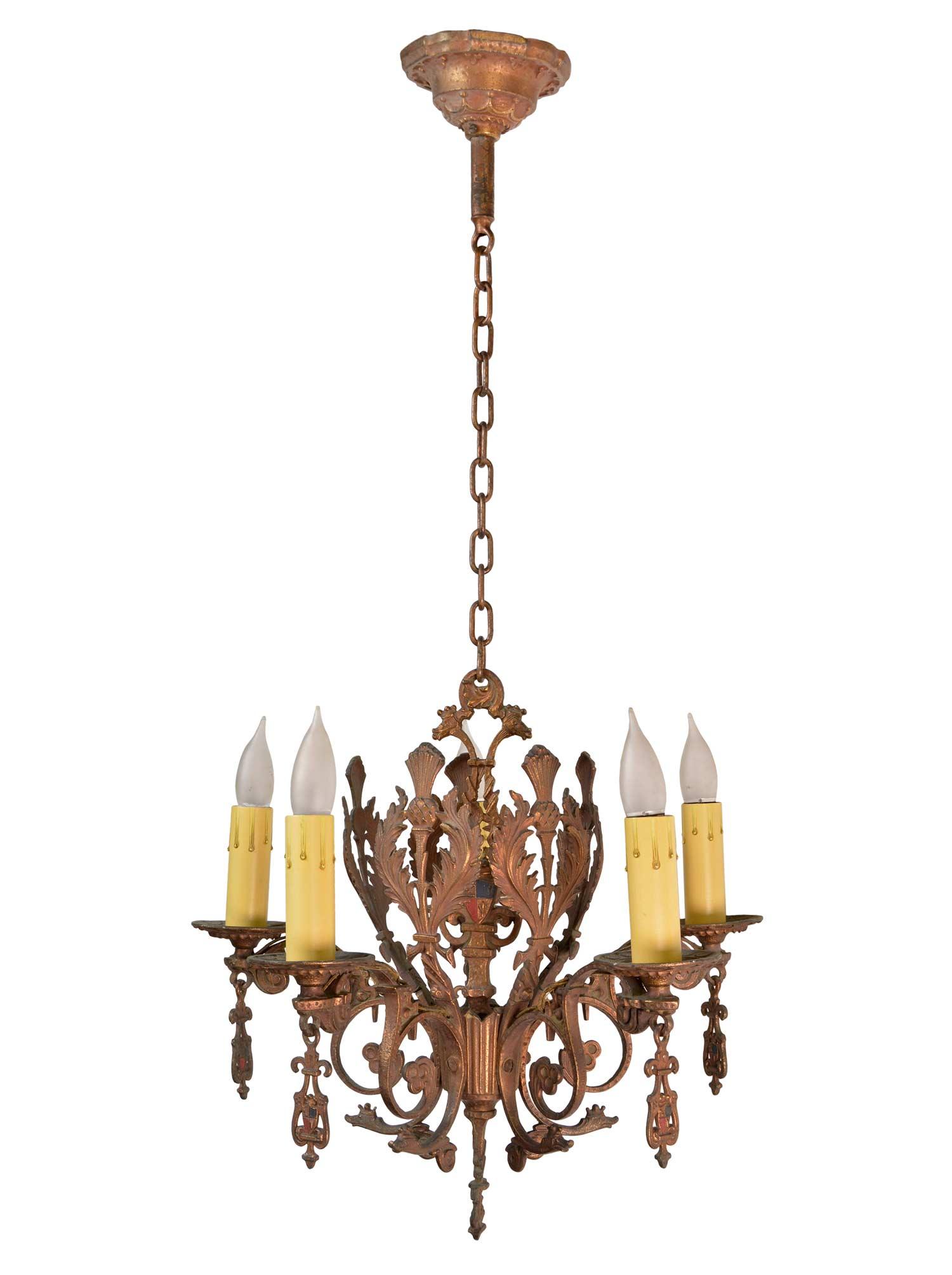 five light bronze chandelier