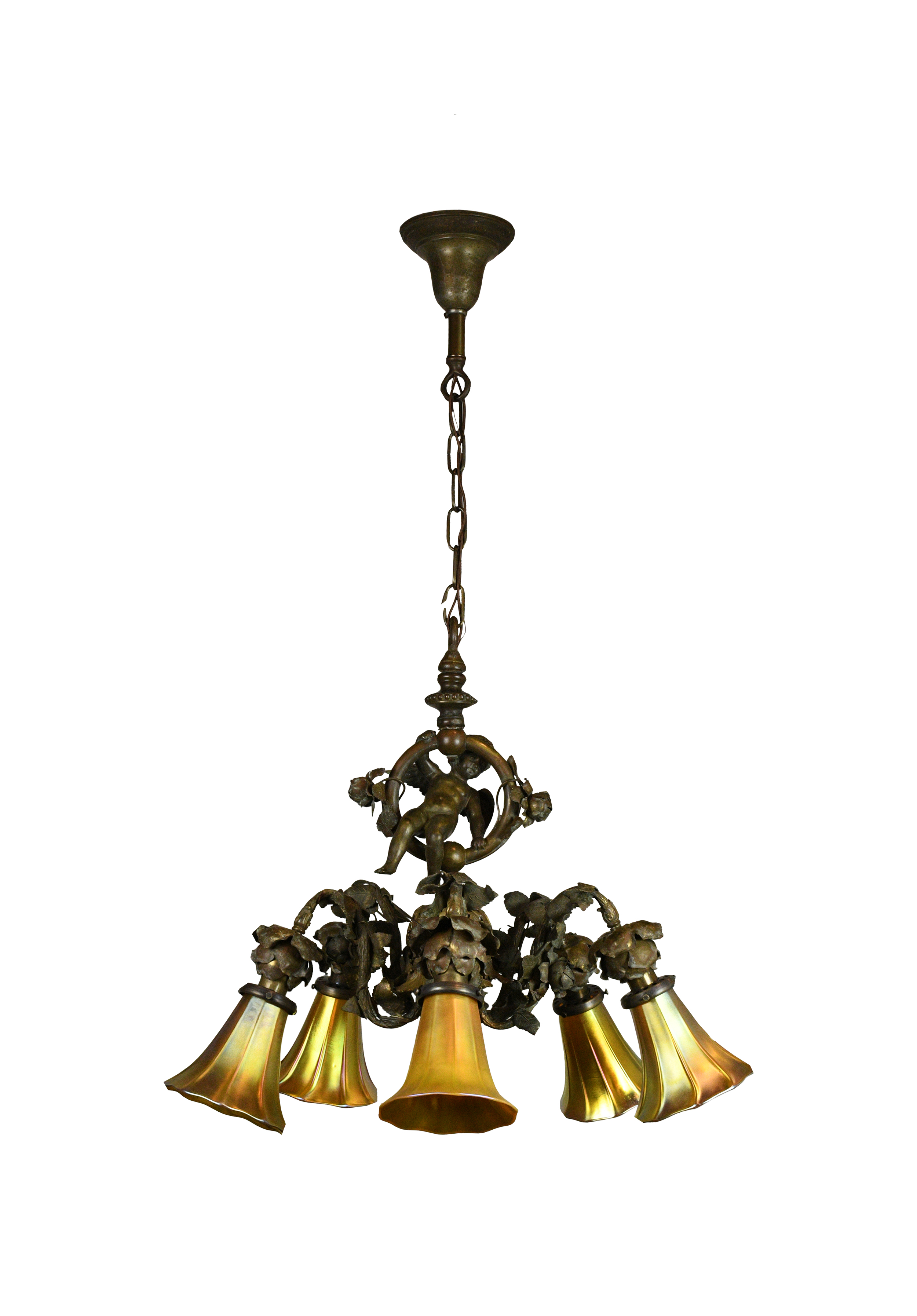 bronze cherub chandelier with art glass shades