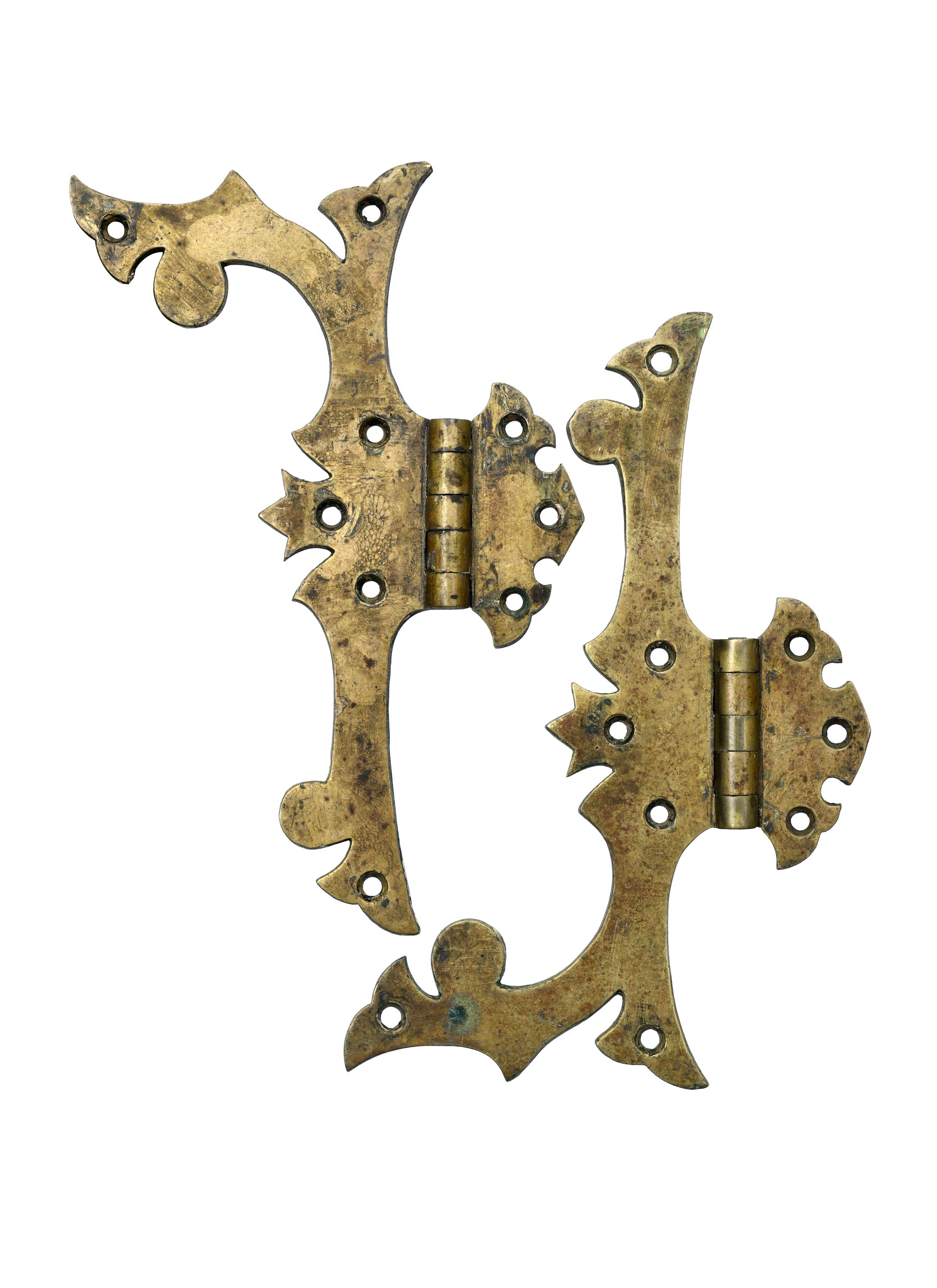 ornate cast brass hinge pair