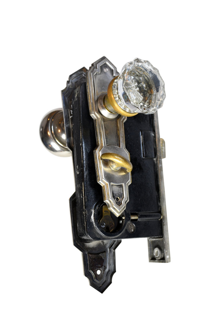 NICKEL PLATED BRASS AND GLASS DECO ENTRY KNOB SETS AA# H20197   2 sets available $235.00 each set