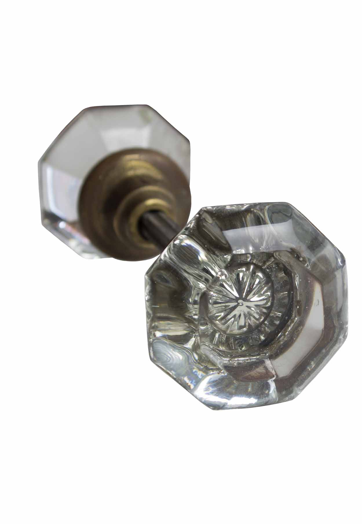 8 SIDED CRYSTAL ROUND KNOB SET WITH BRASS HARDWARE, LARGE  AA# H20182   2 sets available $145.00 each set