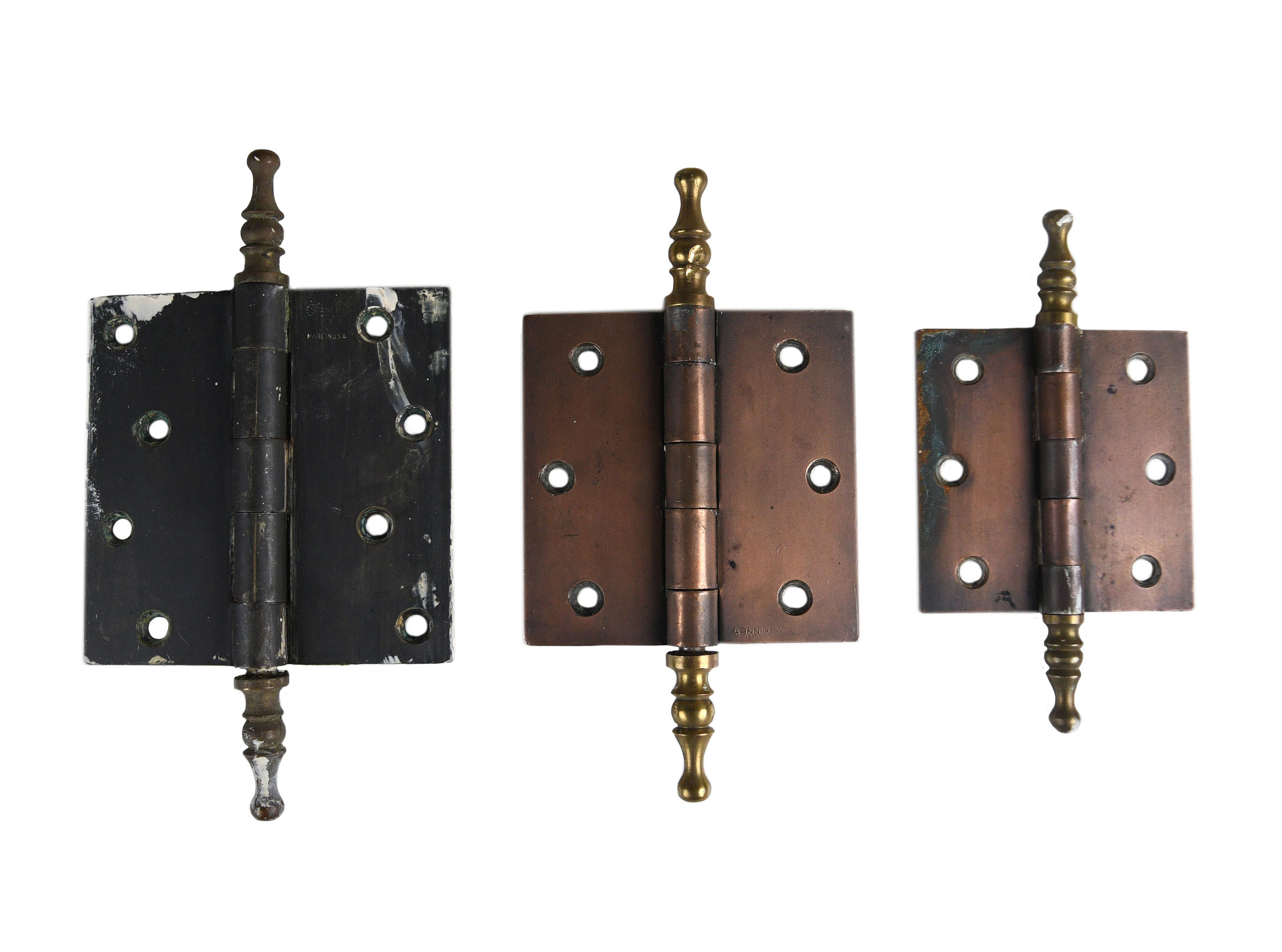 STEEL AND BRASS STEEPLE HINGES AA# 46267   20 small hinges, 8 medium hinges, 18 large hinges available from $18.00 each