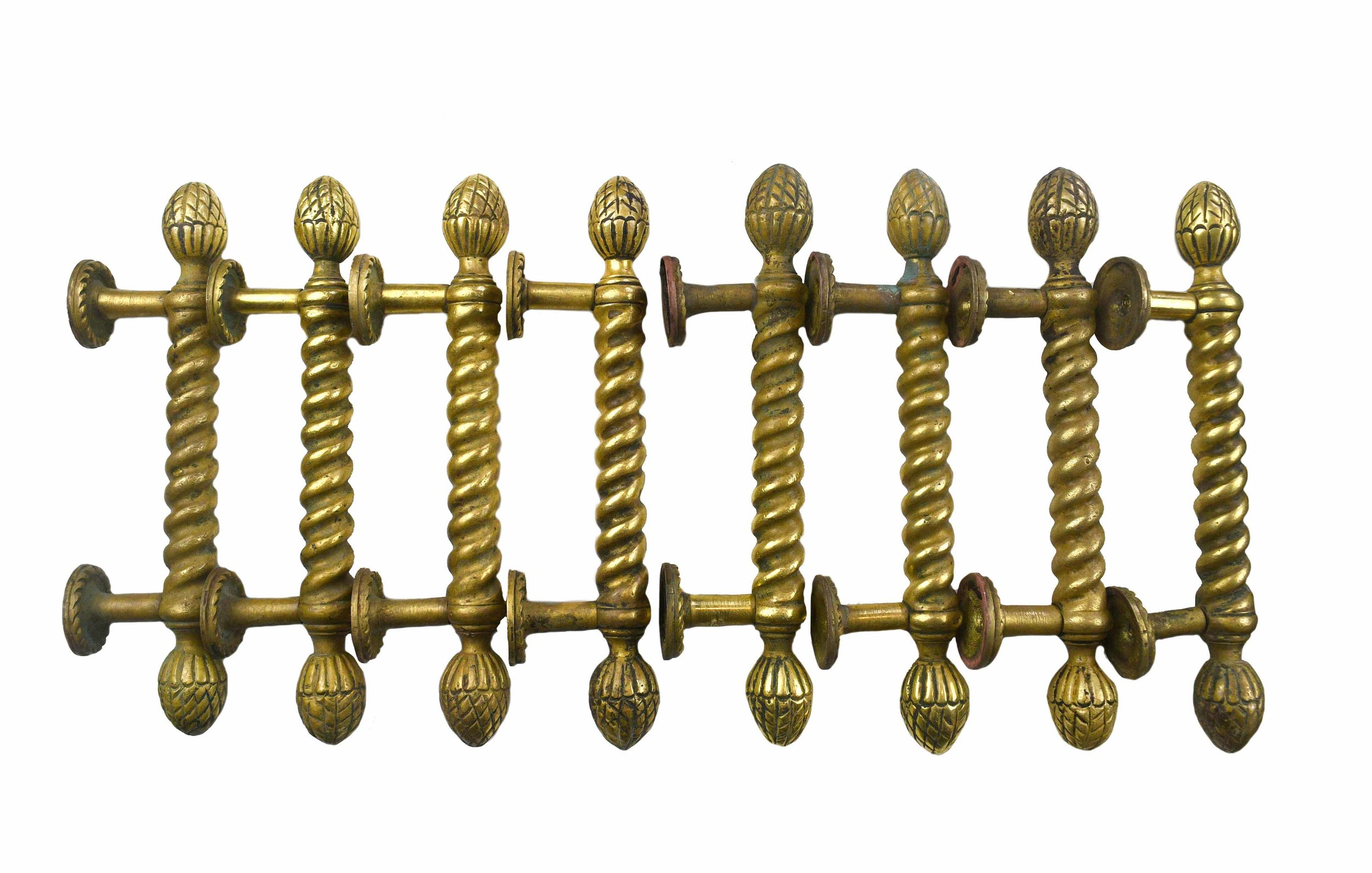 TWISTED CAST BRASS HANDLES AA# 48252   SOLD!