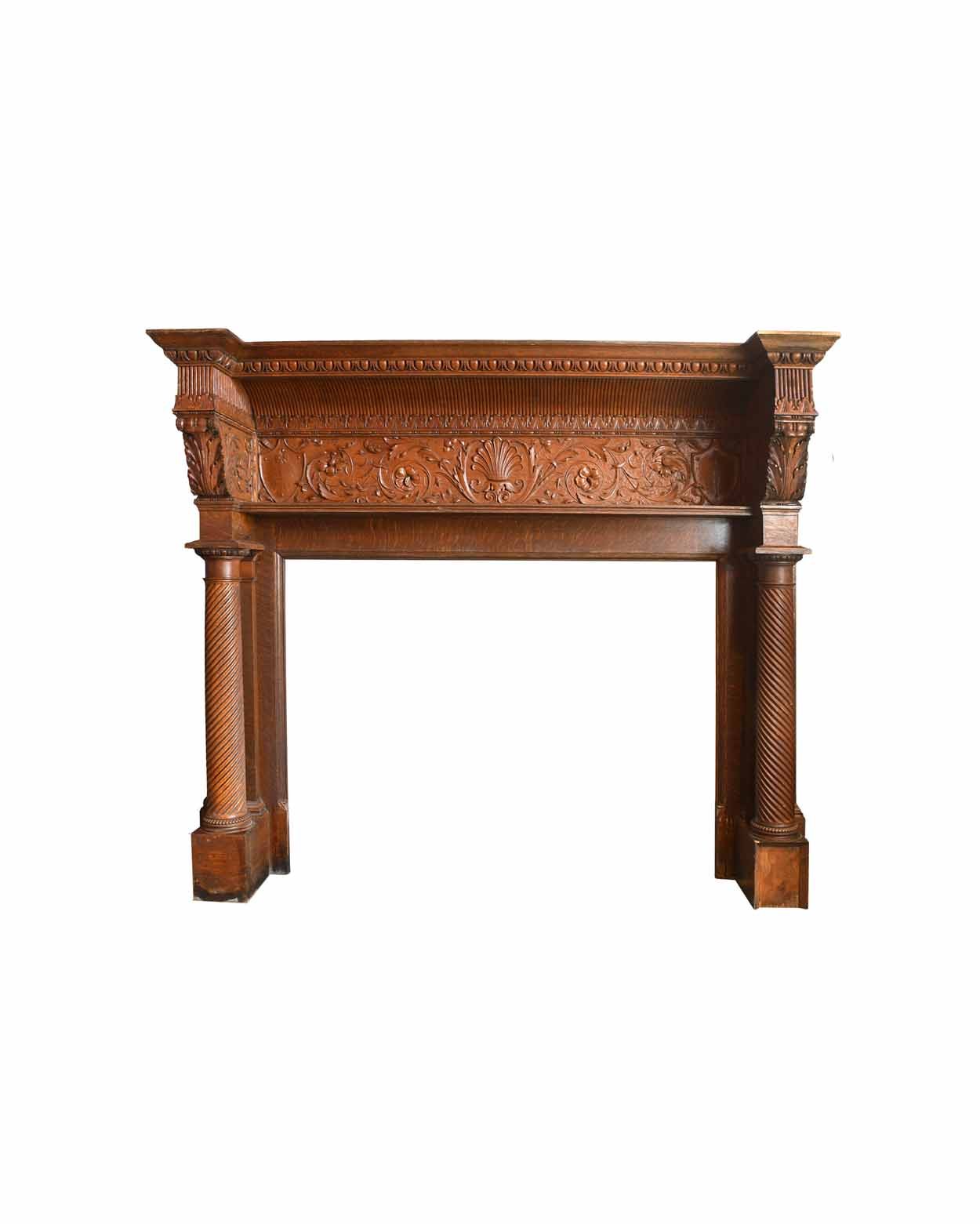 Massive Pittsburgh Oliver House quarter sawn oak Victorian mantel