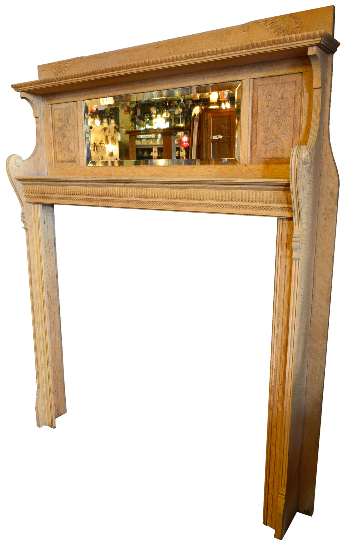 HAND CARVED OAK MANTEL     Click here for more information