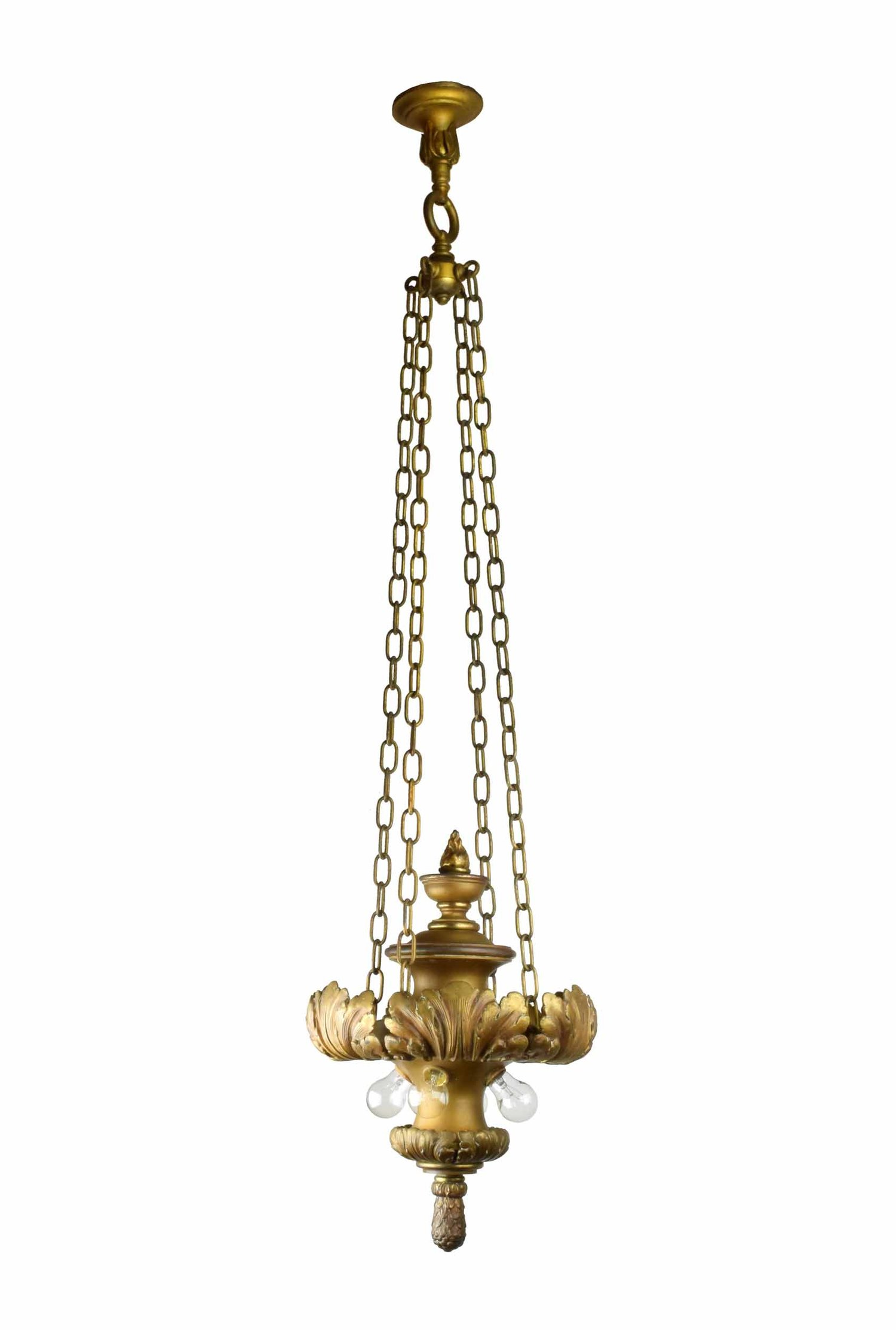 LONG BRASS PENDANT WITH ACANTHUS LEAF DESIGN     Click here for more information
