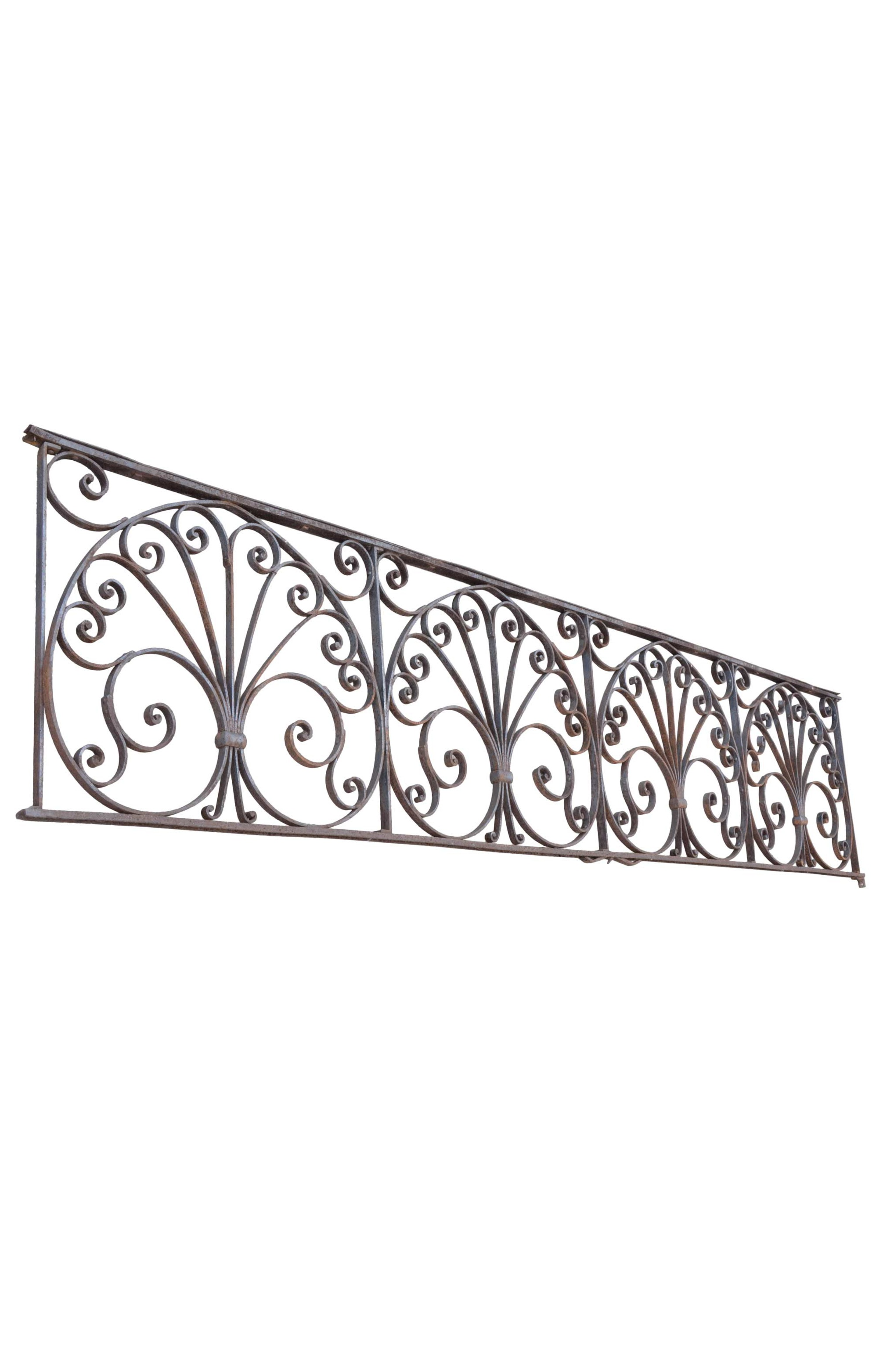 IRON RAILINGS WITH DECORATIVE PALMETTE SCROLLWORK    Click here for more information