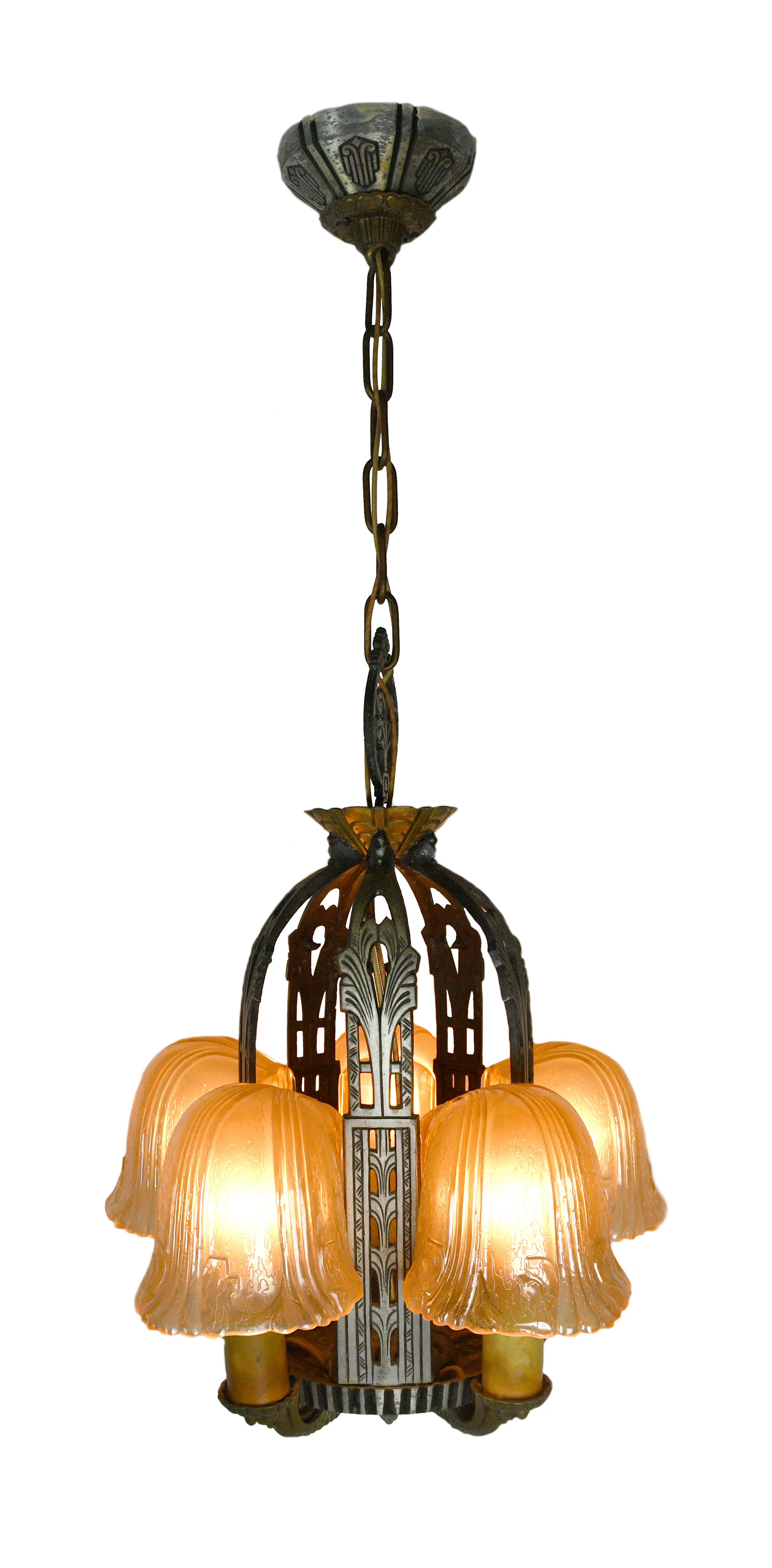 Riddle art deco 5 candle slip shade chandelier    Click here for more information