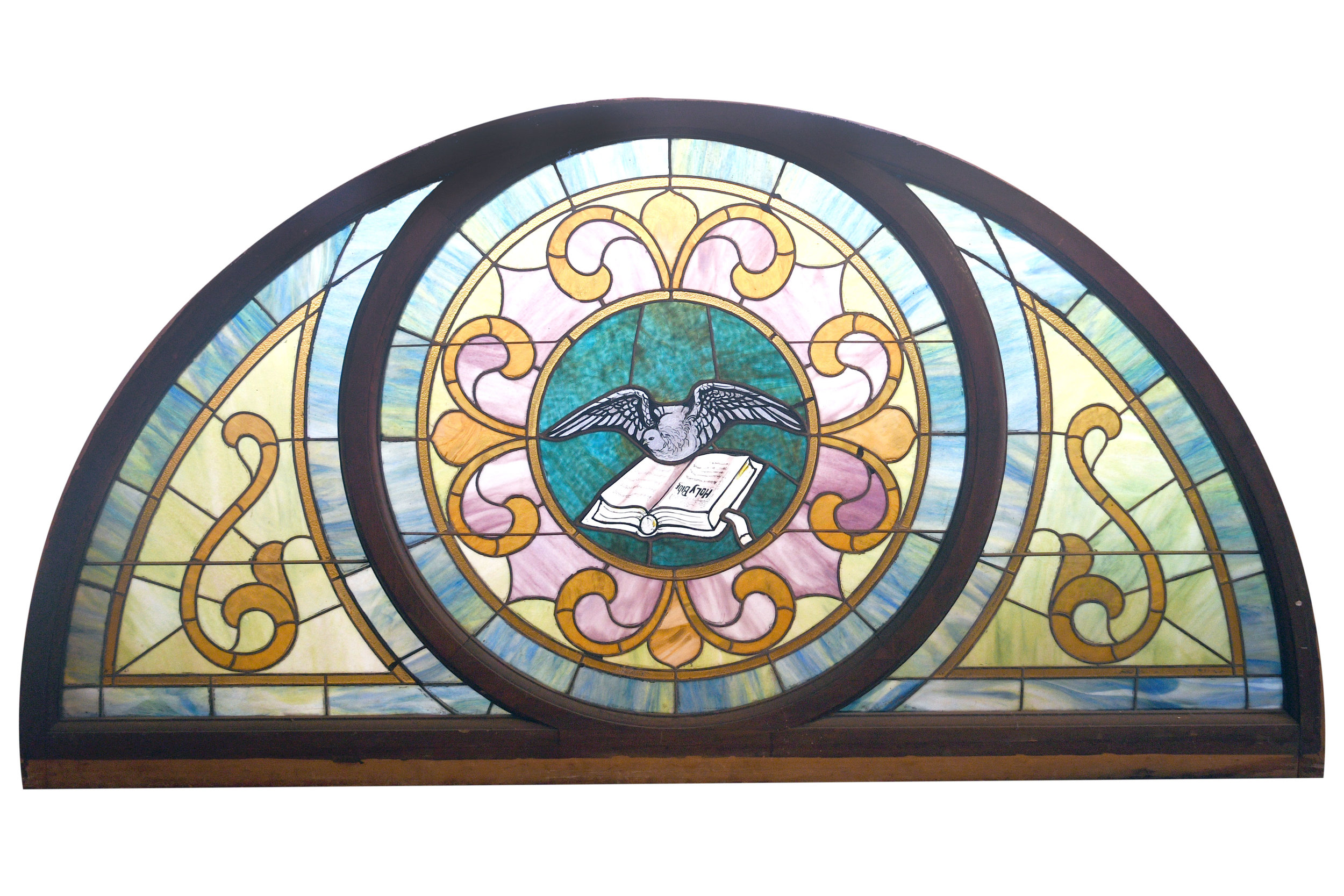Arched stained glass window with painted dove and bible     Click here for more information