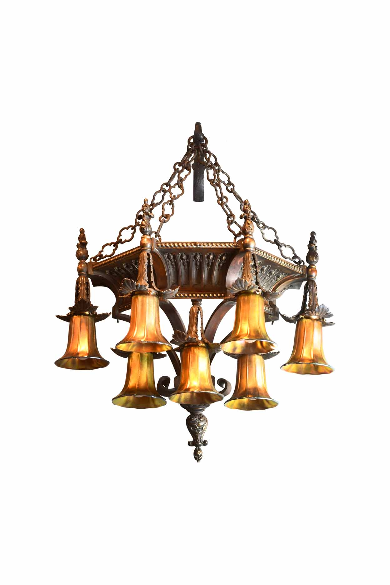 HEAVY CAST BRONZE 7 LIGHT WALL SCONCE    Click here for more information