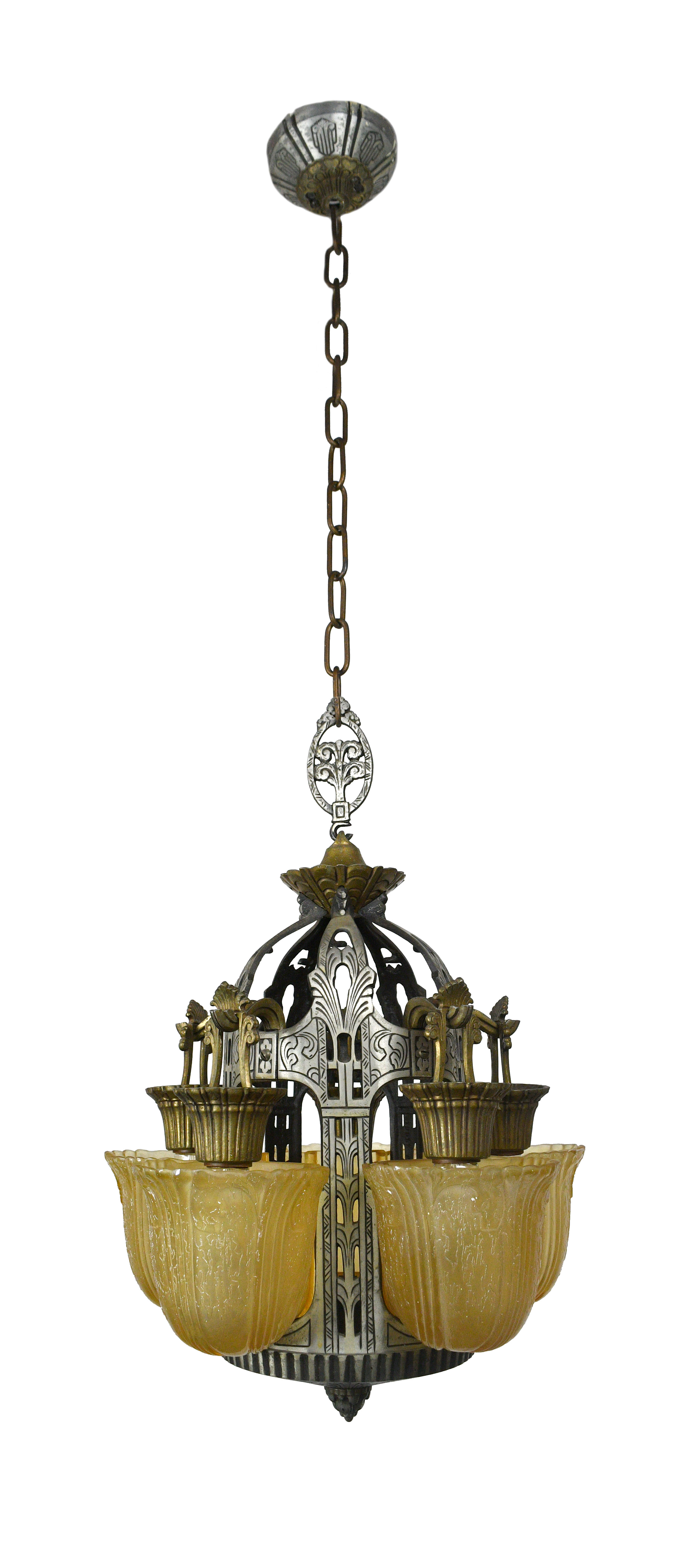 RIDDLE ART DECO 5 LIGHT SLIP SHADE CHANDELIER    Click here for more information