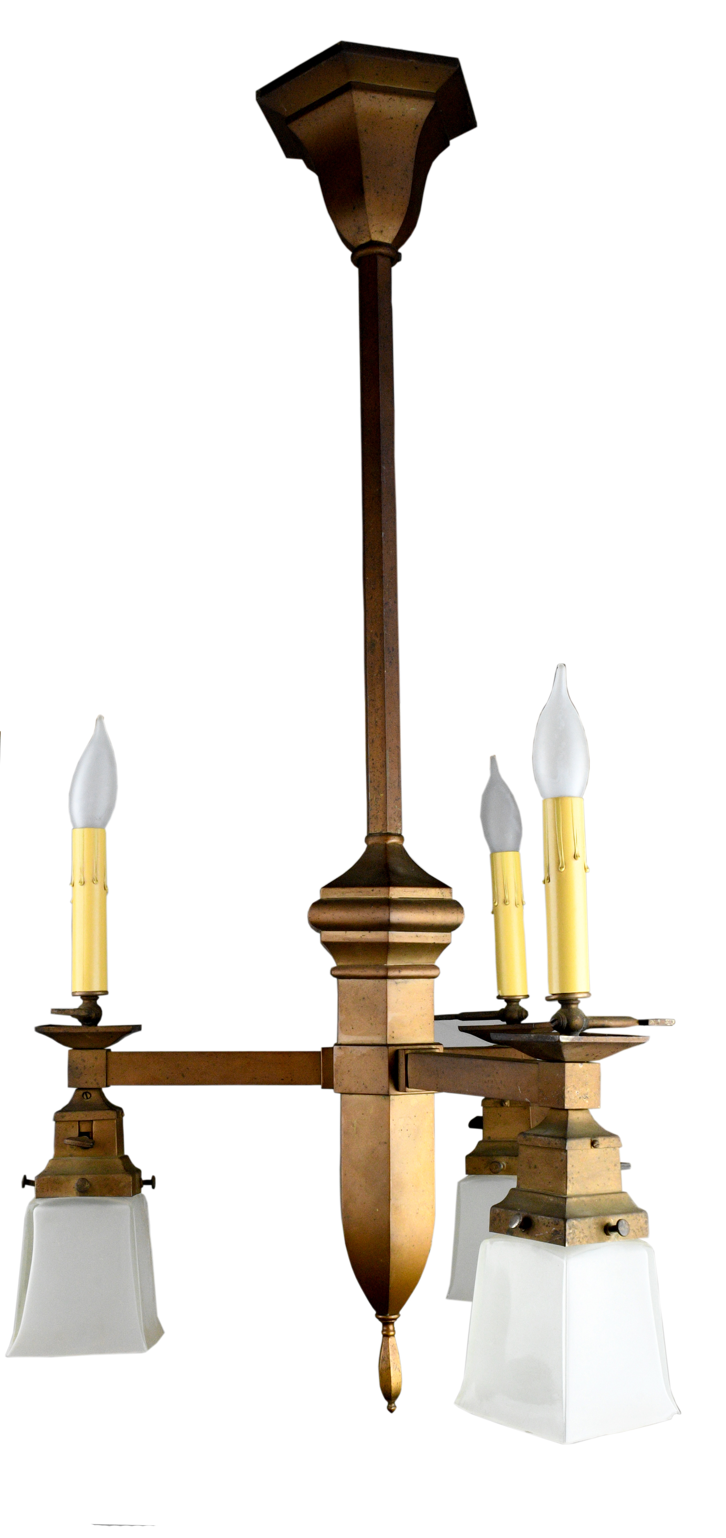 GAS AND ELECTRIC THREE-ARM ARTS AND CRAFTS BRASS CHANDELIERS   Click here for more information