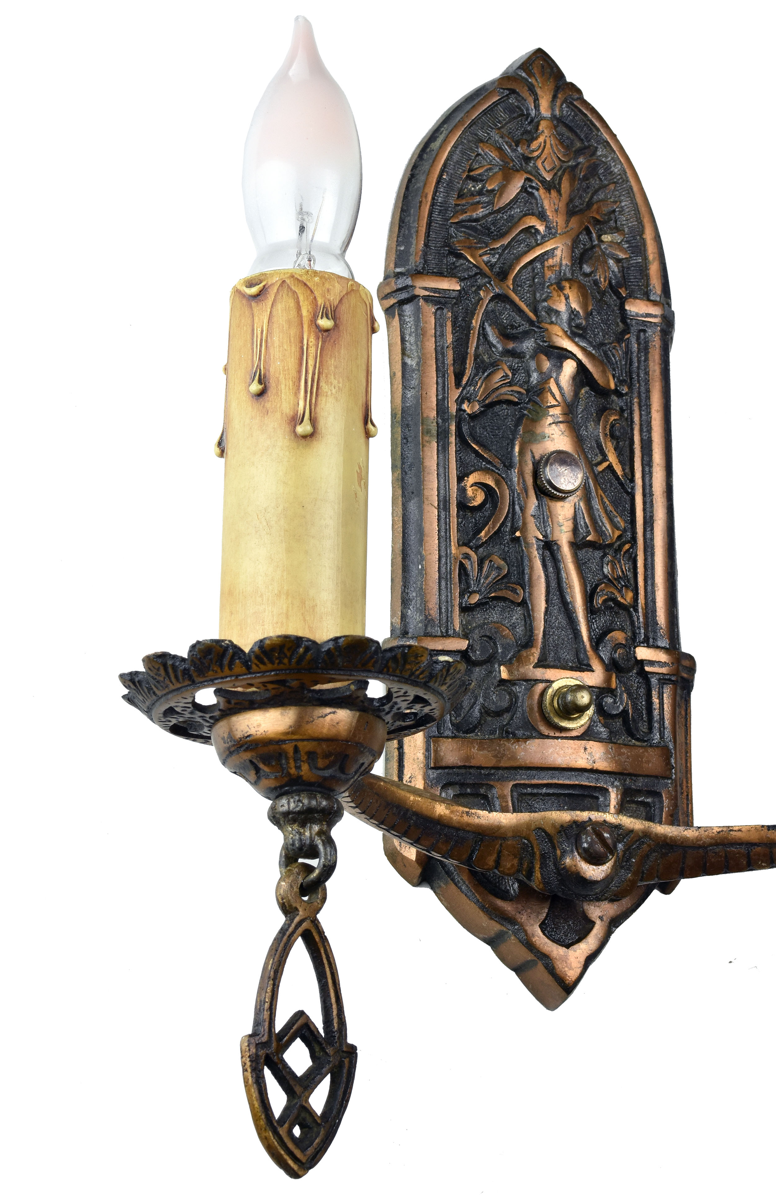 48425 double candle bronze archer sconce full left.jpg