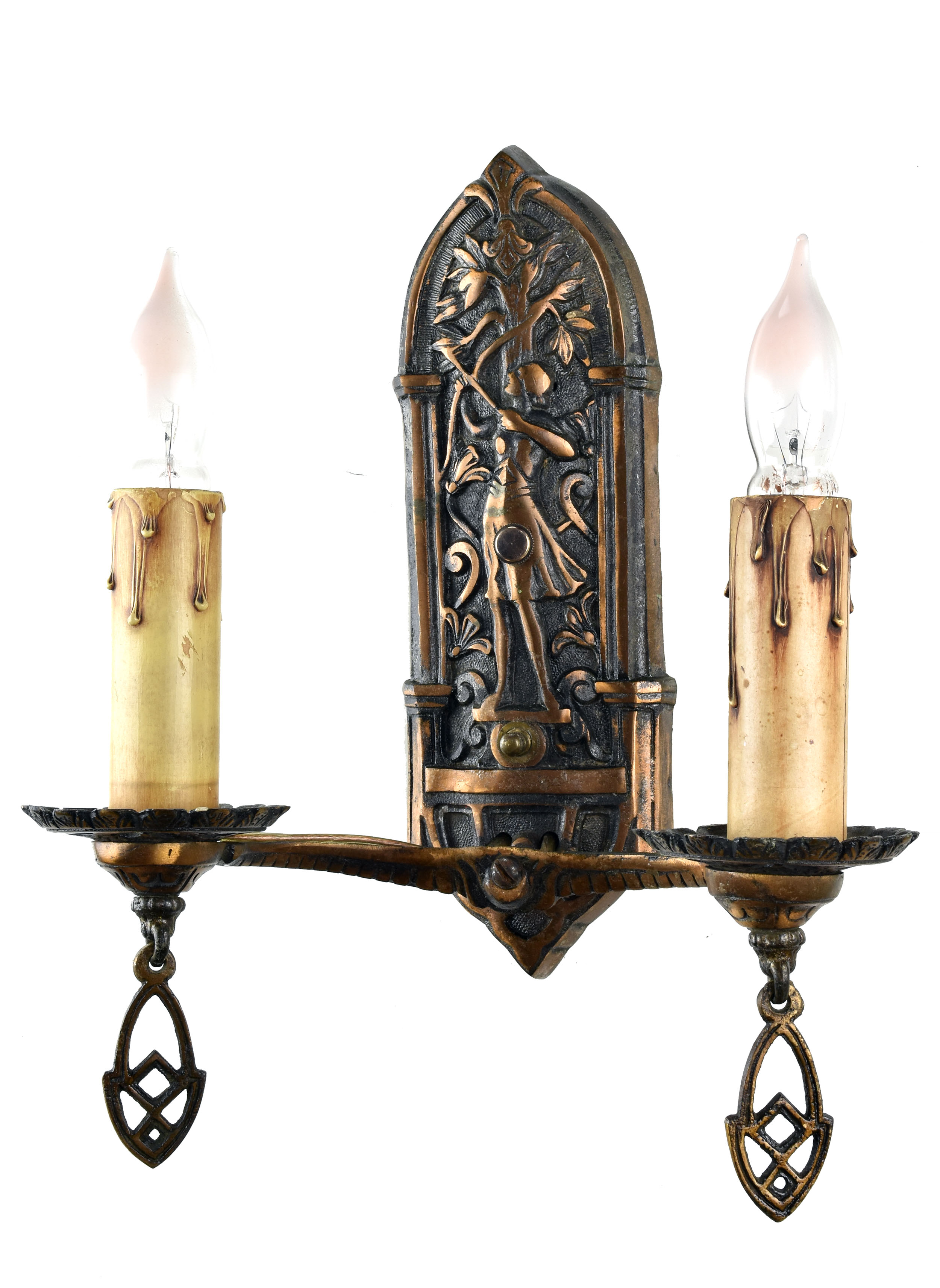 48425 double candle bronze archer sconce full right.jpg