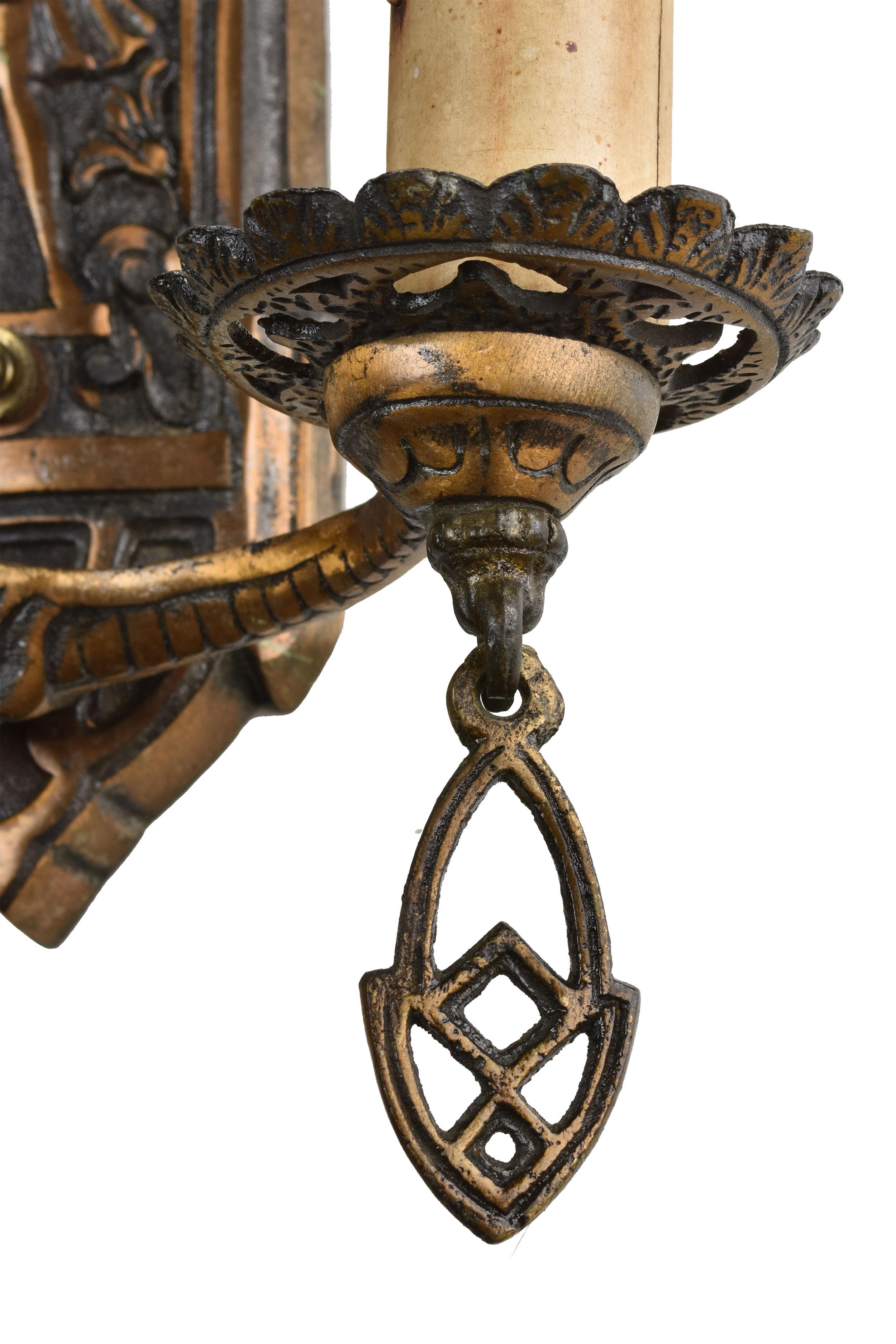 48425 double candle bronze archer sconce tassle.jpg