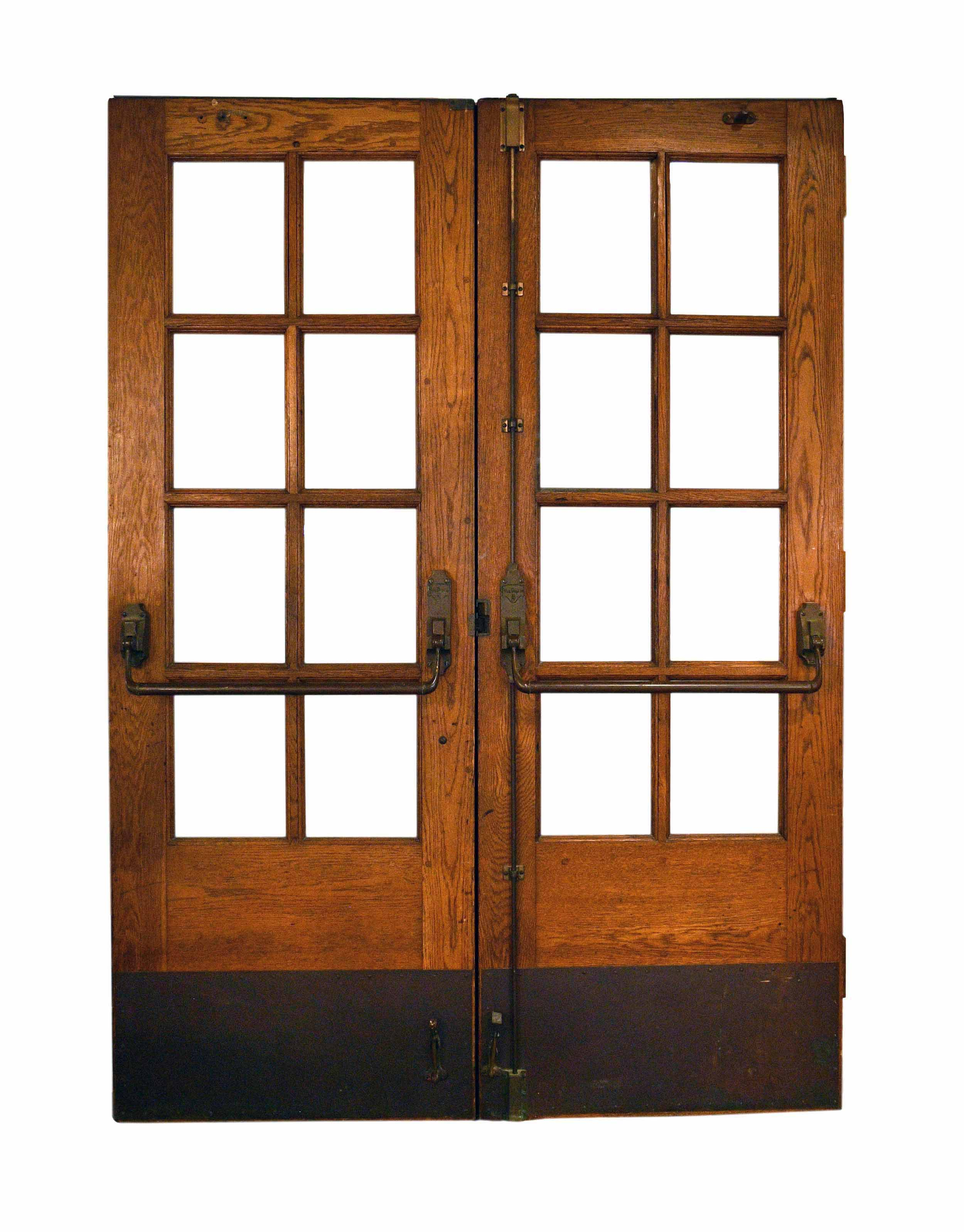 French double door unit with crash bar