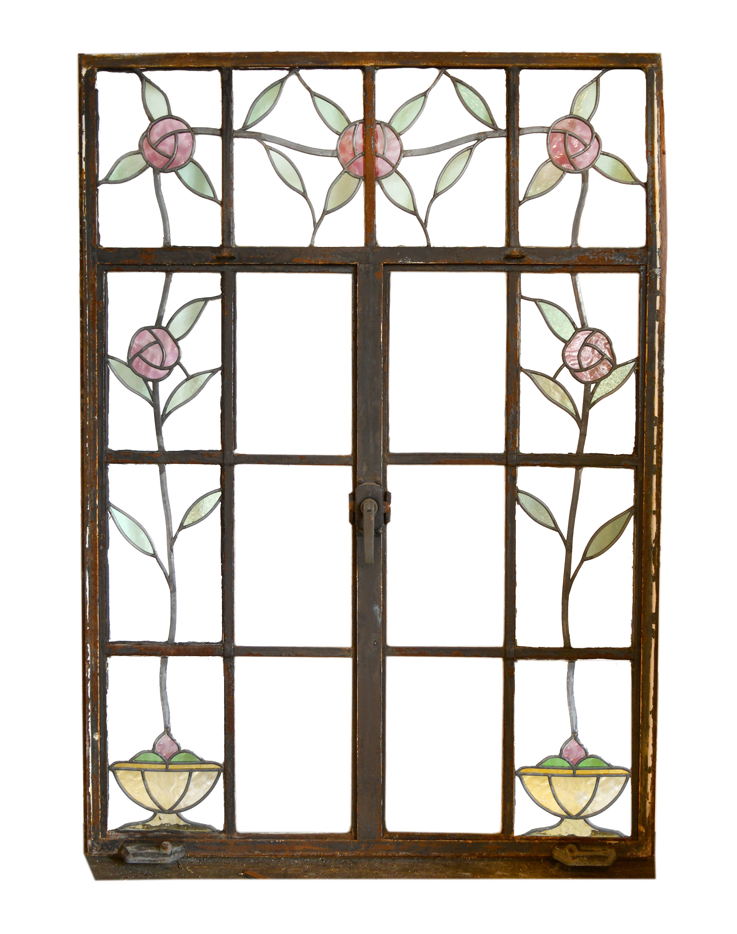 Medium casement window with stained glass roses - 1 available