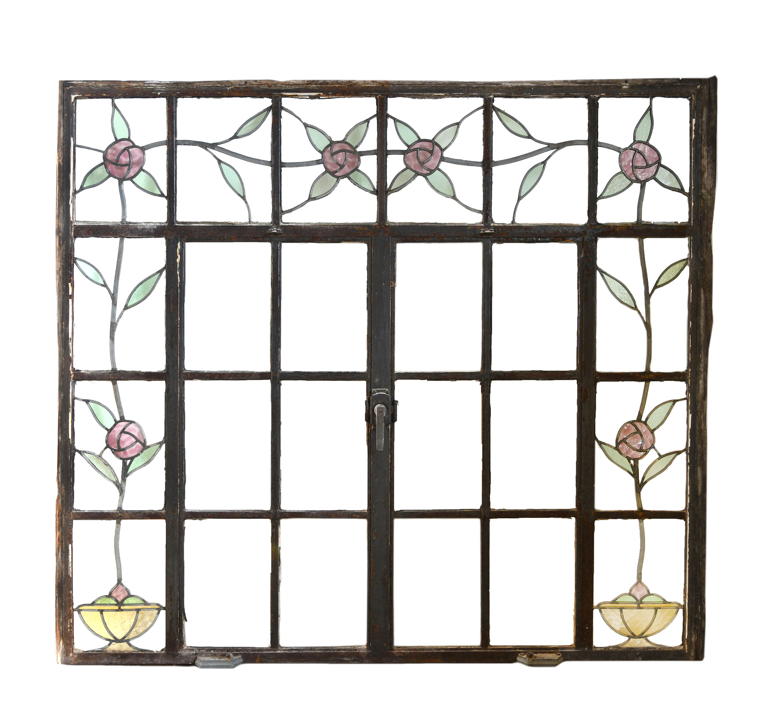 Large casement window with stained glass roses - 2 available