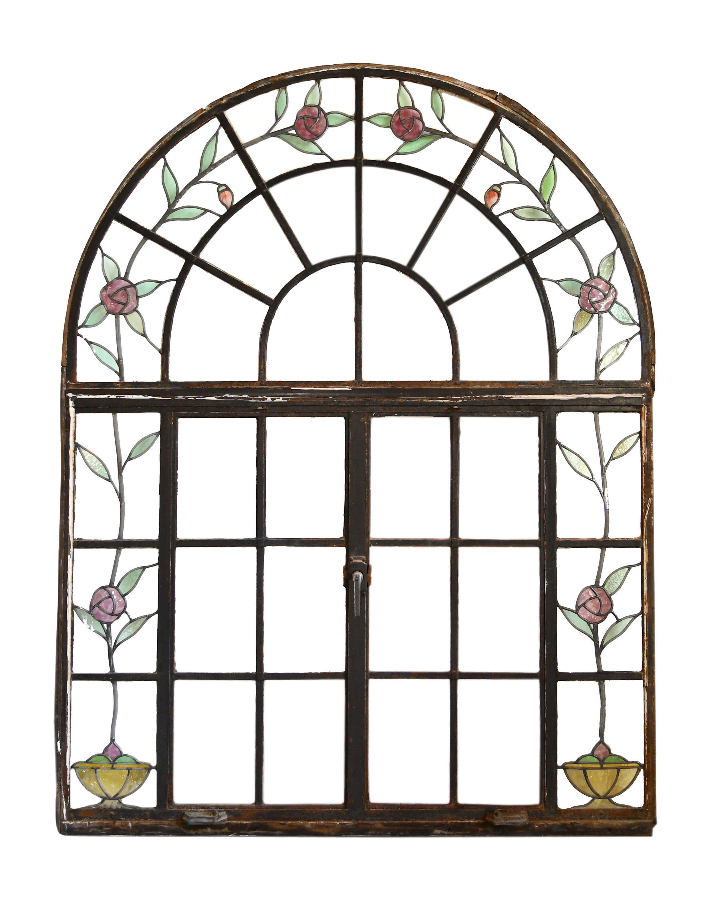 Arched casement window with stained glass roses  - 1 available