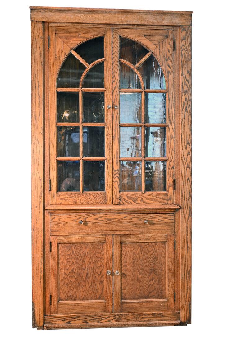 Golden Oak Corner Cabinet Architectural Antiques