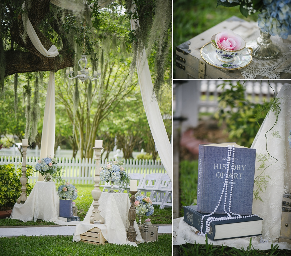 vintage tea set themed palmetto riverside B&B wedding photos