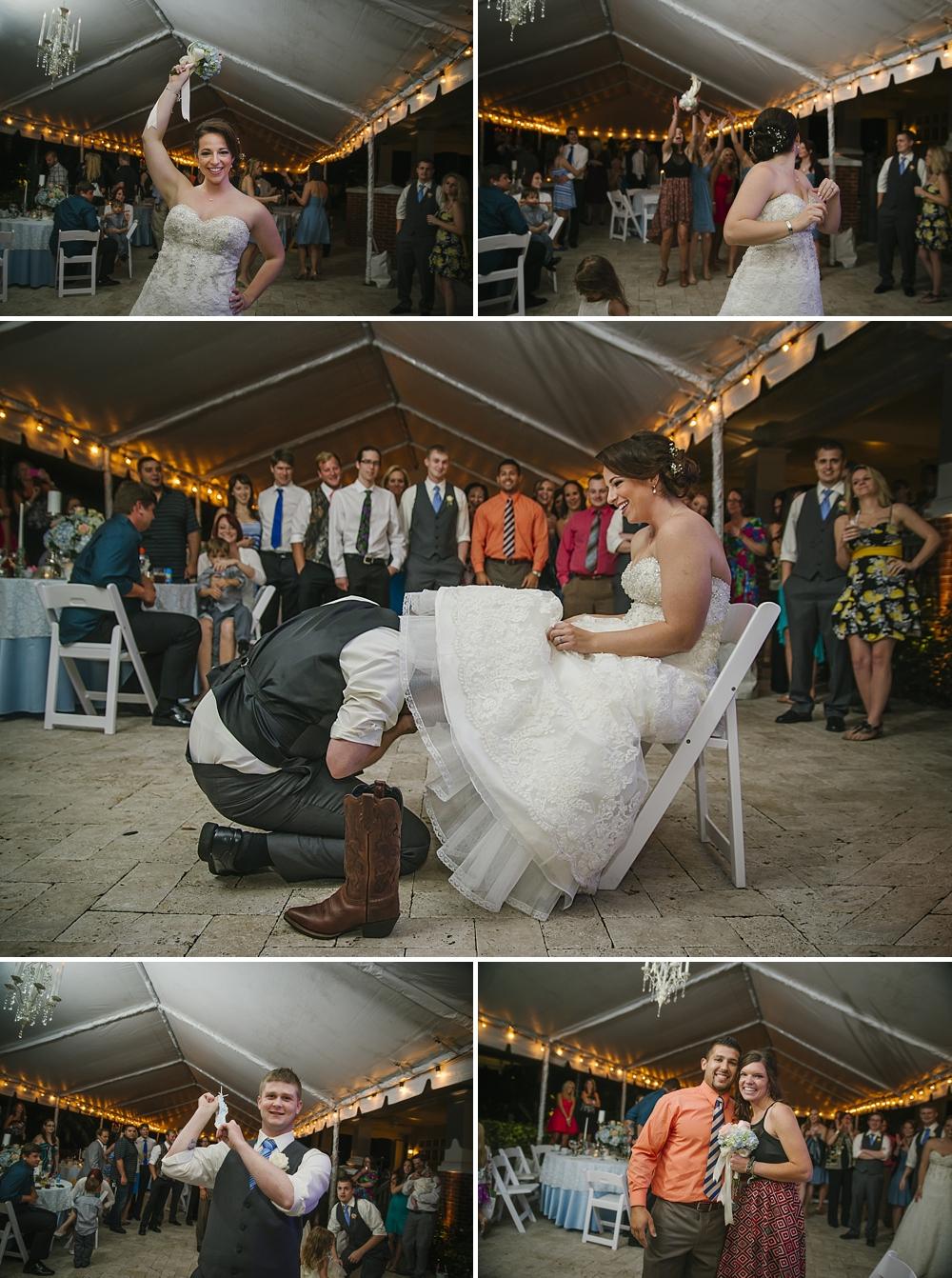 garter and bouquet toss palmetto riverside B&B wedding photos