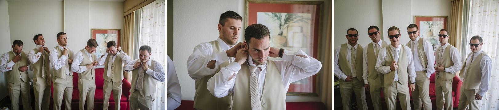 groomsmen getting ready at the sirata with wayfarers