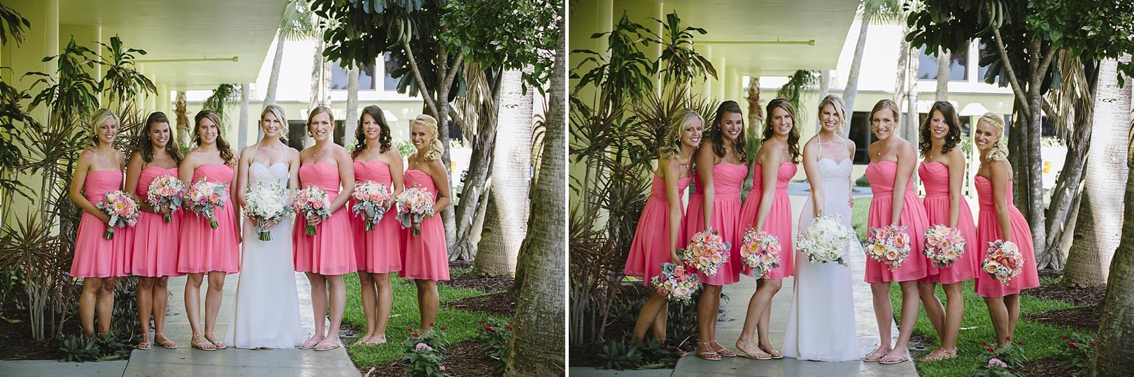 coral pink bridesmaids sirata beach wedding photos