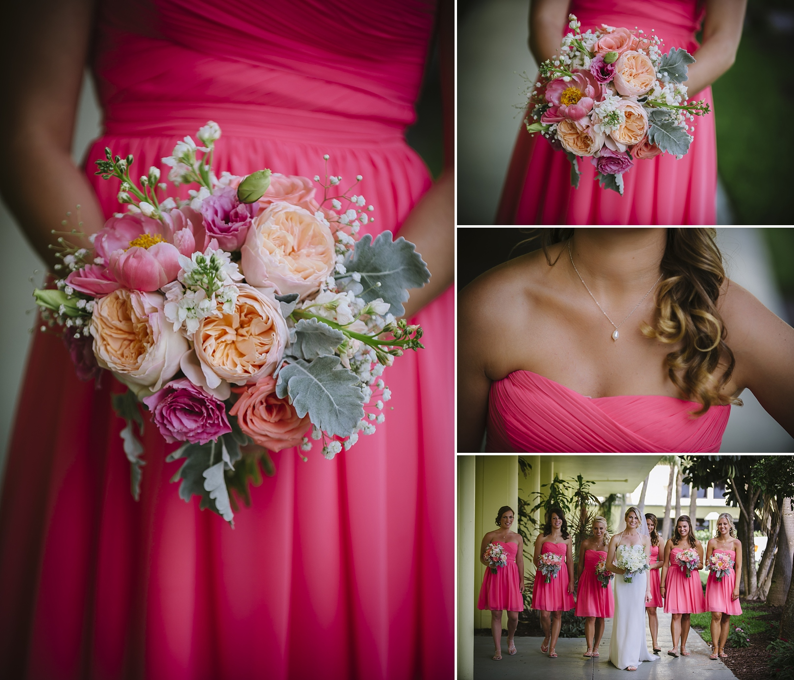 coral pink bridesmaids at sirata beach wedding photos