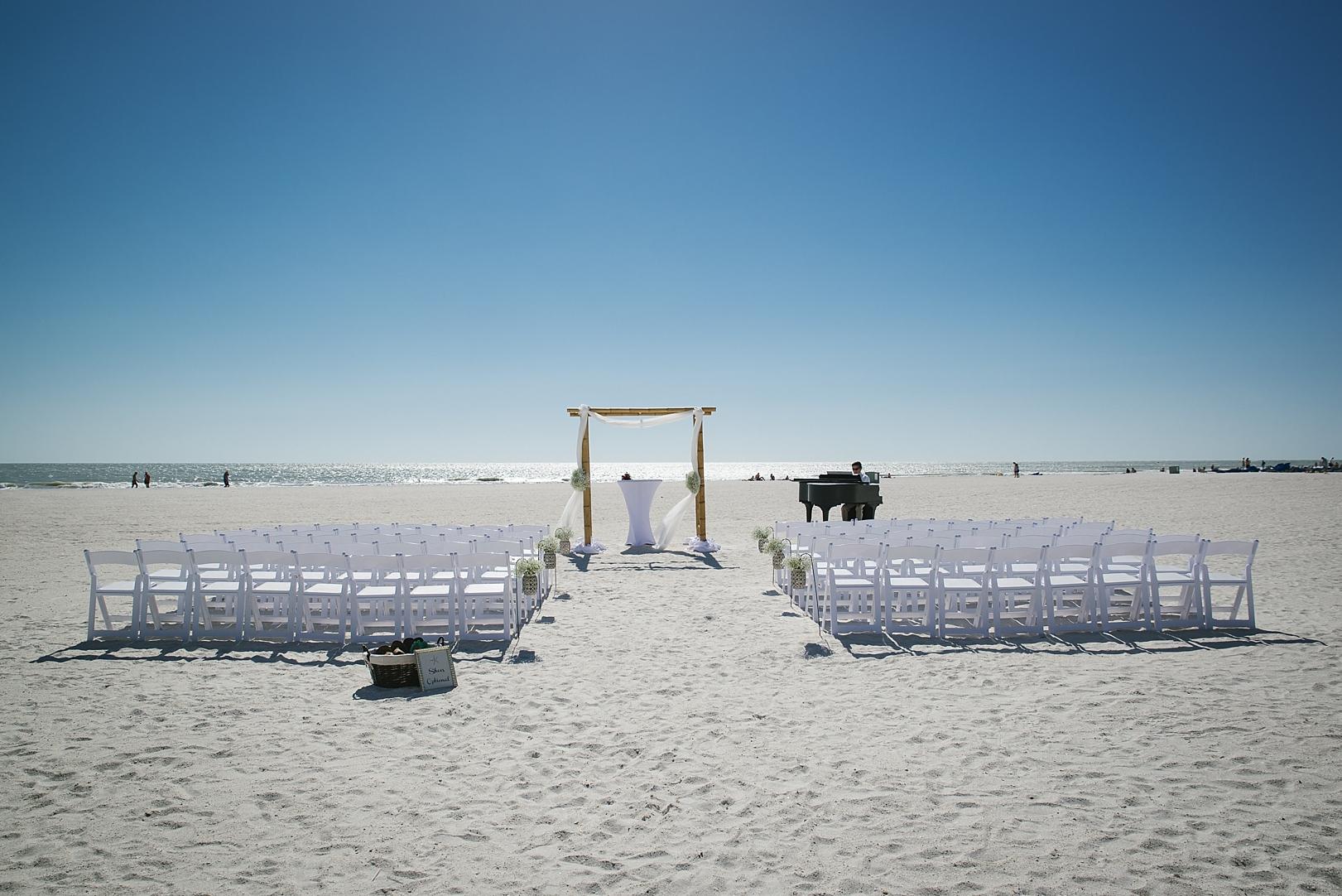 sirata beach wedding photos with baby grand piano