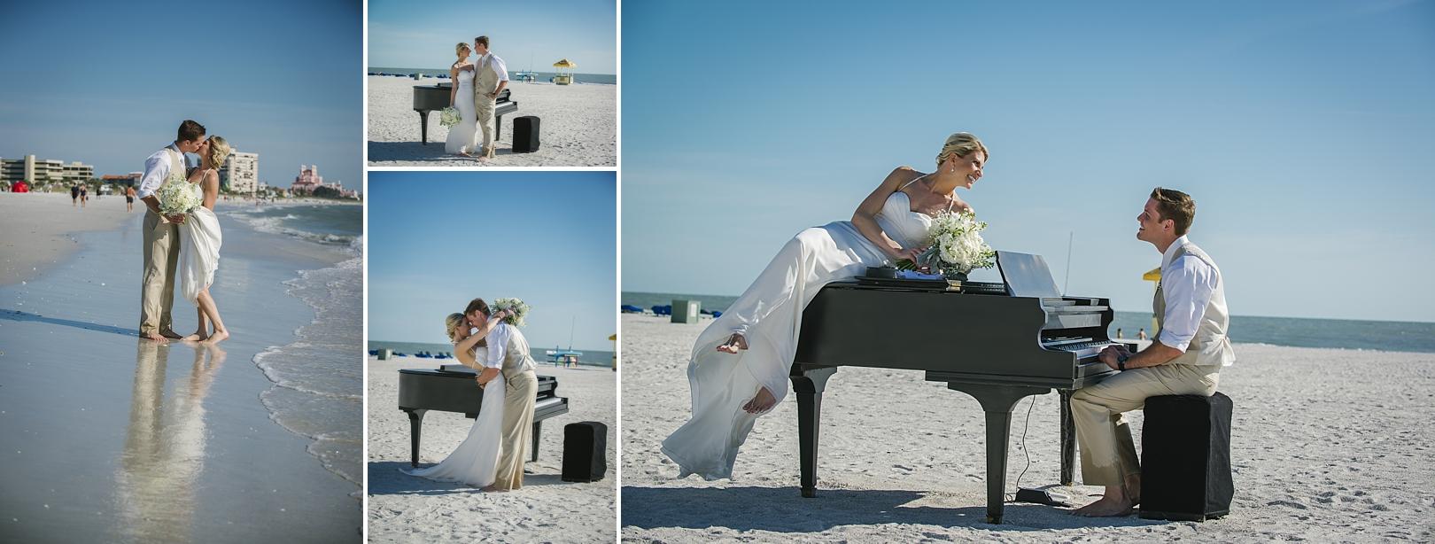 baby grand piano on the beach sirata beach wedding photos