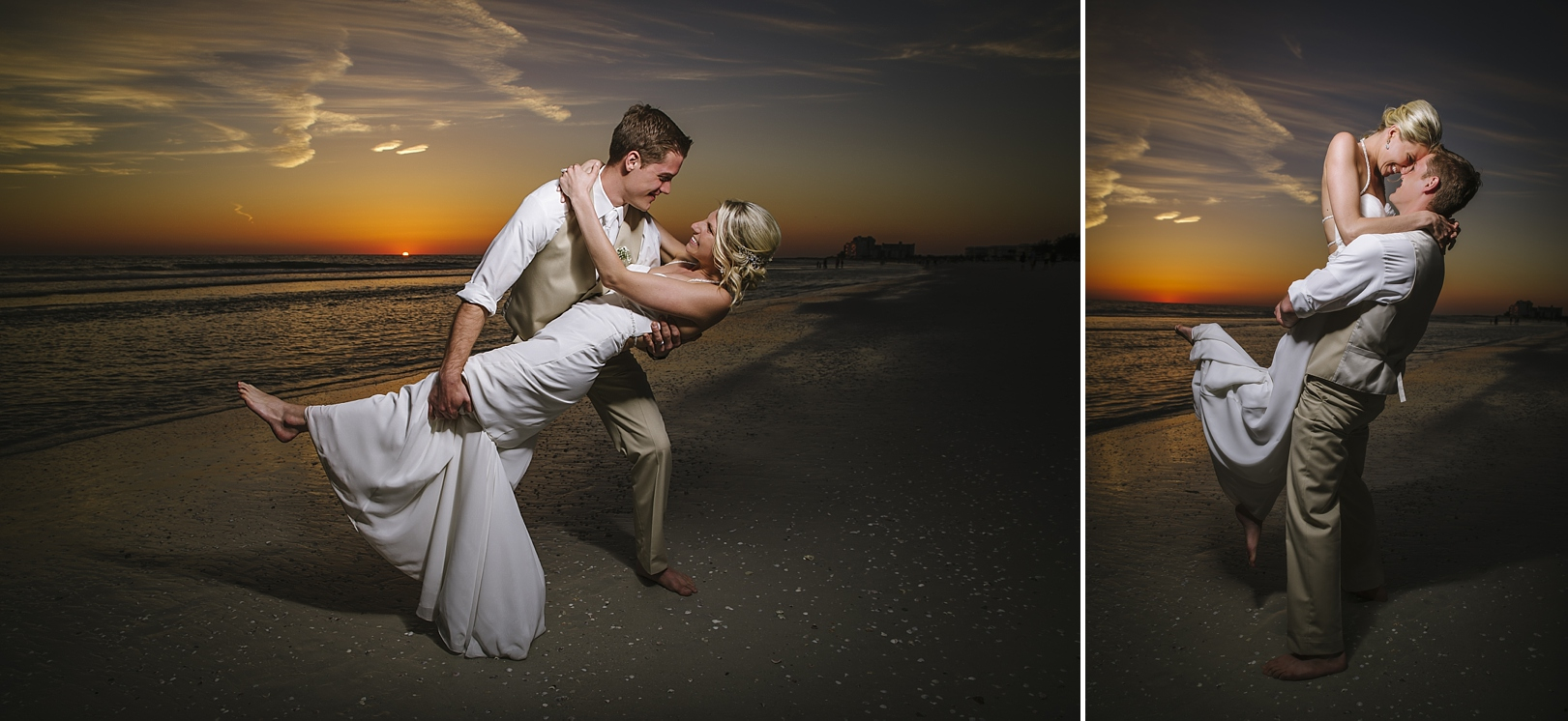 romantic sunset sirata beach wedding photos
