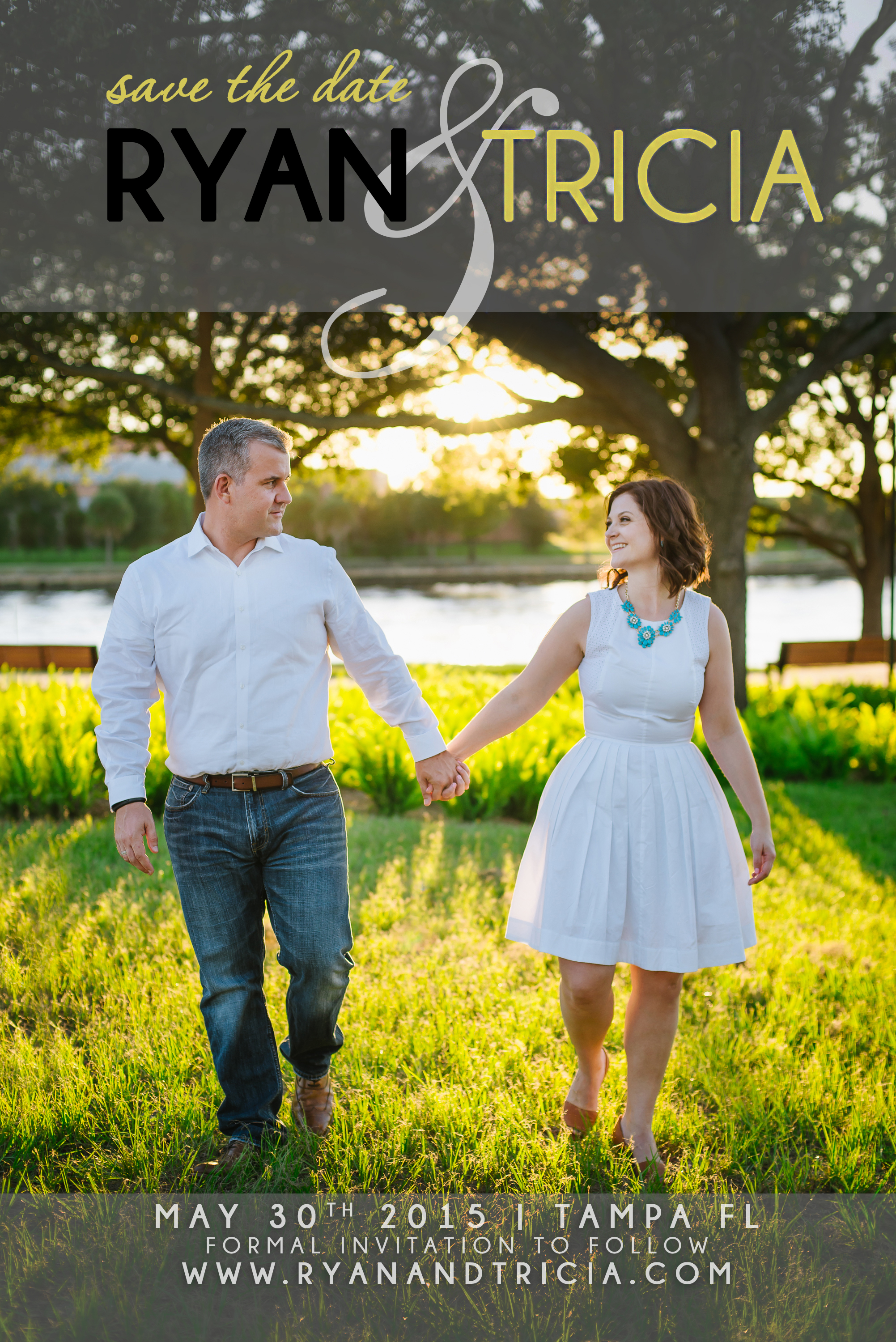 modern save the date magnet tampa engagement photo