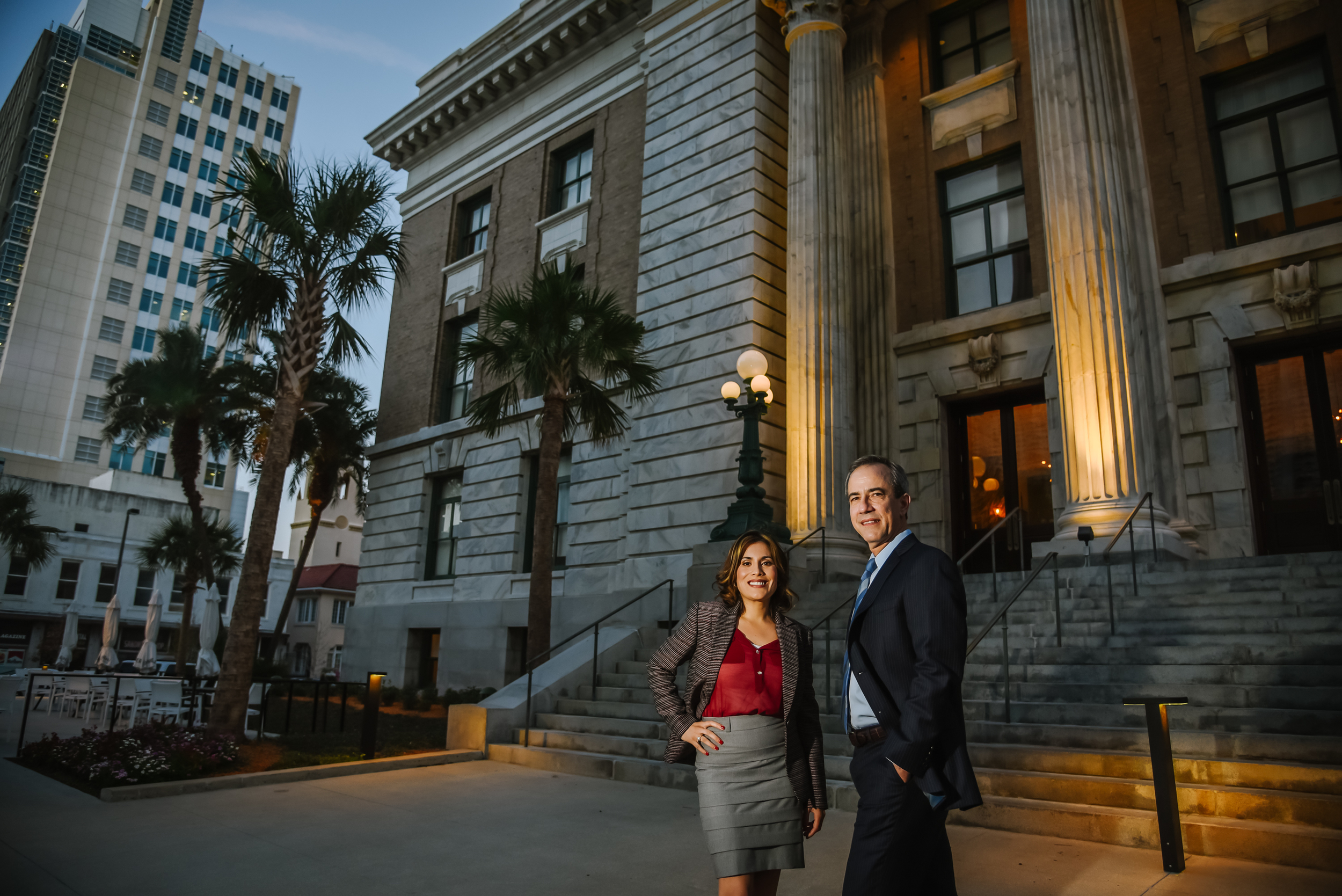 Next the Fiol Law partners were in need of new portraits. We shot head shots in the studio then ended with some epic frames in front of the old courthouse in downtown Tampa at twilight.