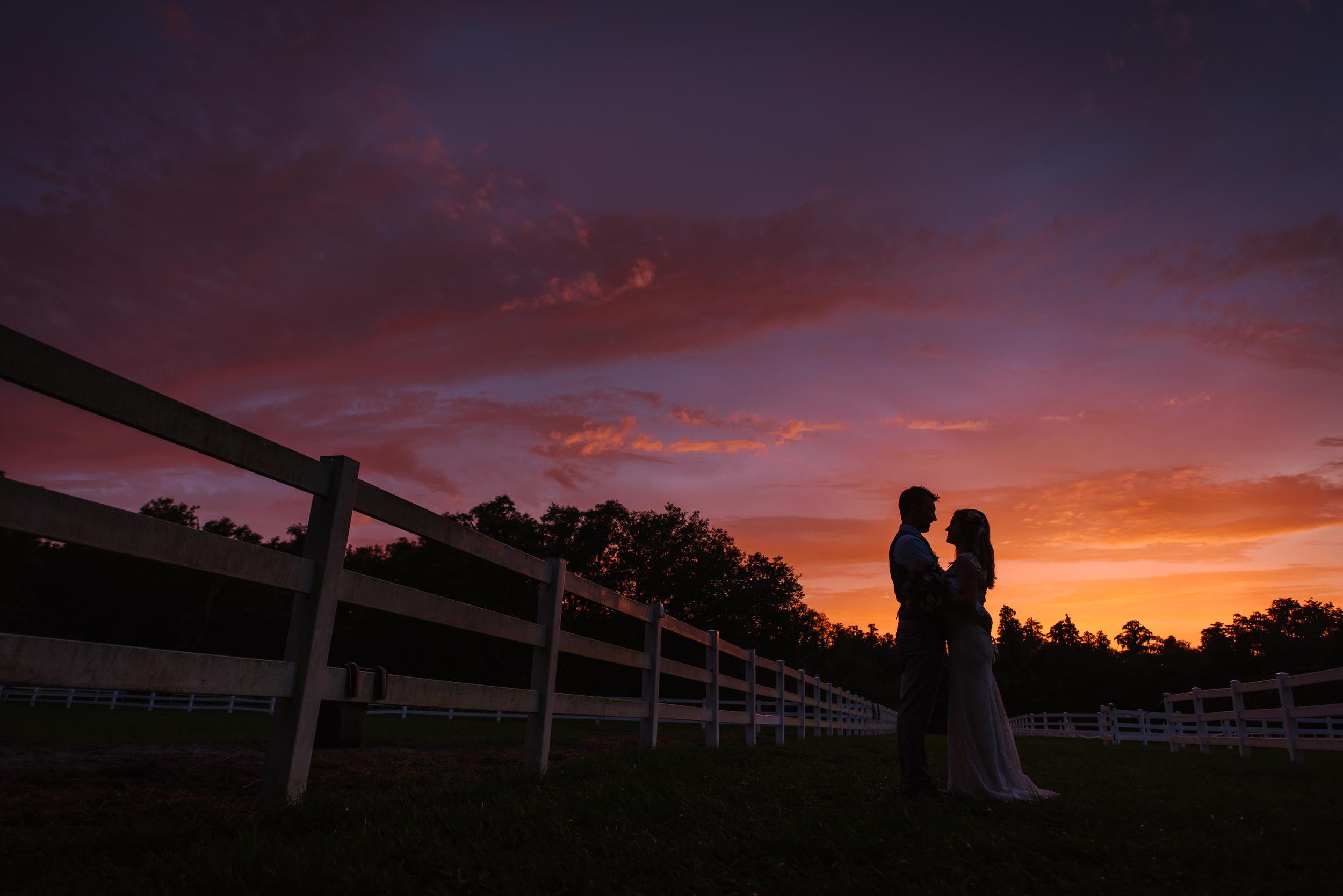 tampa-wedding-photographer-lange-farm-sunset-silhouette-bride-groom-portrait-romantic-evening-night