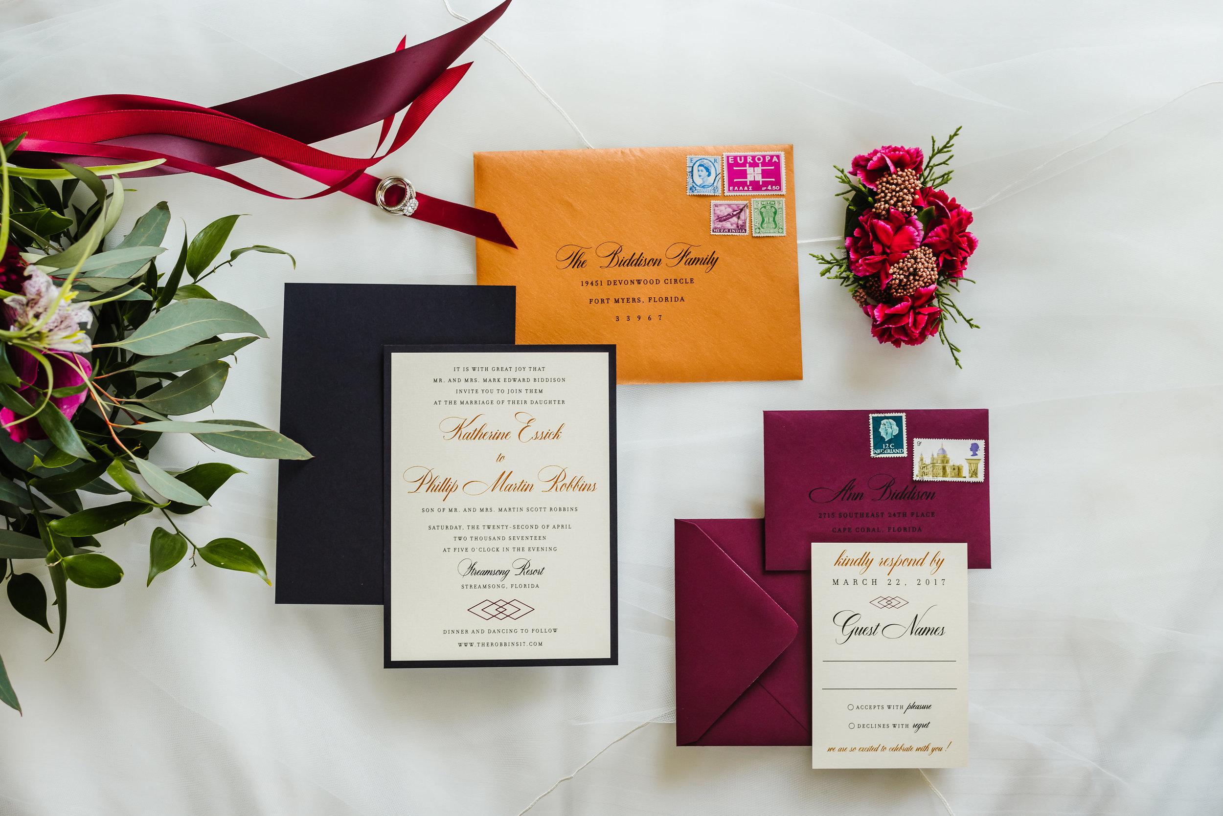 Tampa-Wedding-Photographer-Streamsong-Resort-Flatlay-Burgundy-Copper-Navy-Greenery.jpg