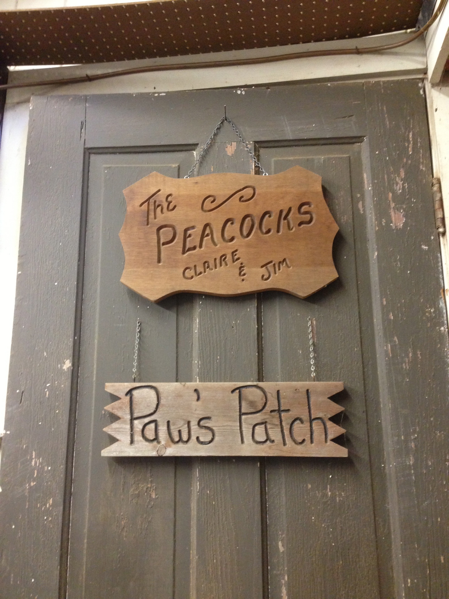 A picture of the sign on the door of my grandfather's shop where he created beautiful furniture for our family. Mrs. Peacock would draw the furniture she wanted and he would make it.
