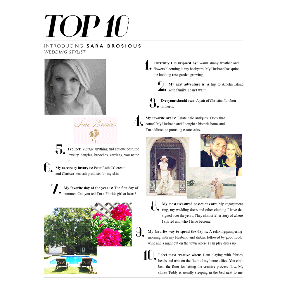Learn more about Sara's design/styling process by clicking on her top 10!