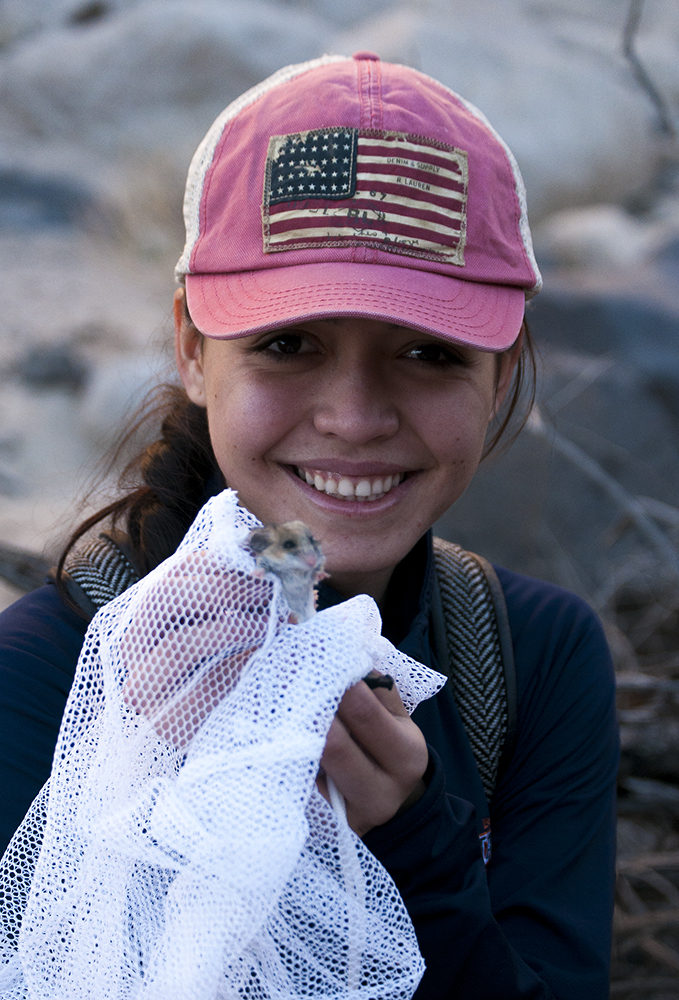 Teresa with a canyon mouse friend.
