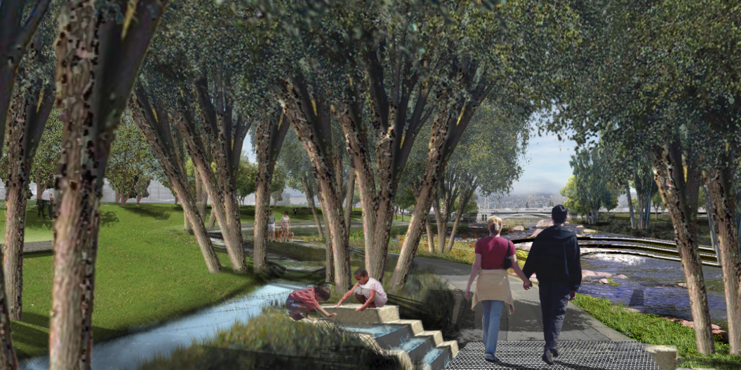 Rendering of a new riverfront community park in Canoga Park along the Los Angeles River according to the Los Angeles River Revitalization Master Plan.  Source:   Los Angeles River Revitalization Master Plan