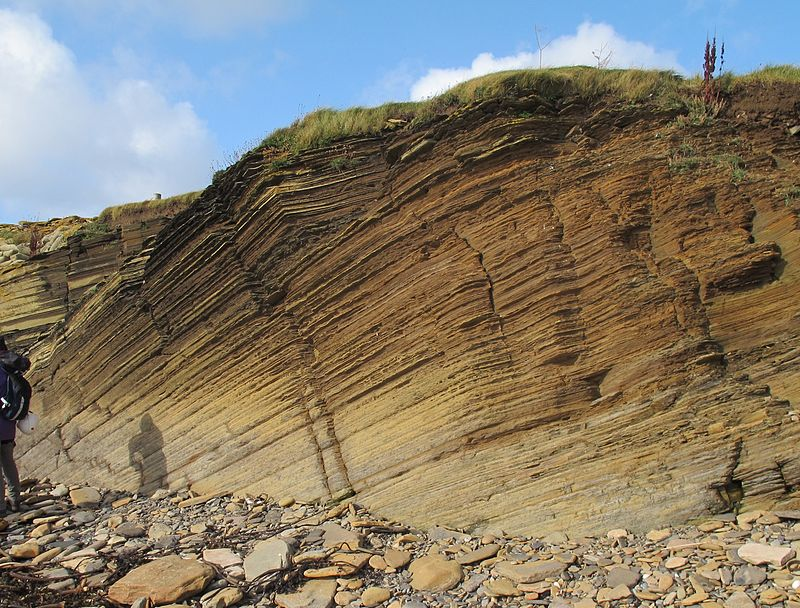 Ancient lake sediments hold clues to the past. Sandwick Fish Bed, Orkney, Scotland.