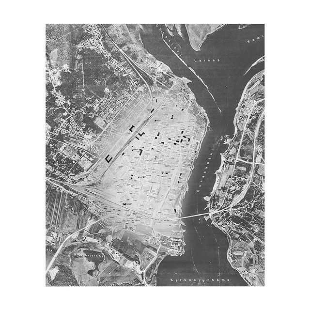 This Was Rovaniemi // Series  An entire town ravaged by war. As the Germans retreated from the Lapland town the fires set destroyed most of the residence homes. This map shows the remaining buildings left standing as the rest turned to ashes.  Mixed physical print media complied and rephotographed, © eronenpiper.com 2019  #visitrovaniemi #rovaniemi #laplandwar #winterwar #wwii #rememberyourhistory #munlappi #postwar #lapinsota