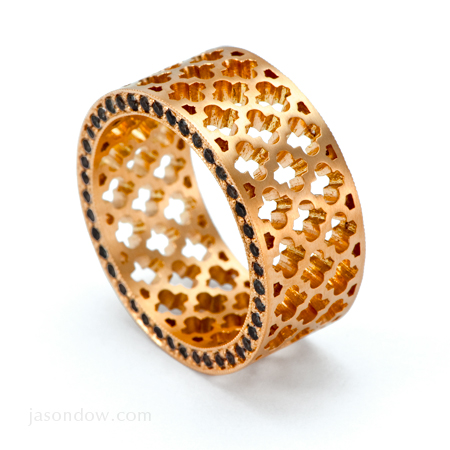 18K Rose Gold Jali Eternity Ring with .80 carats of Black Diamonds