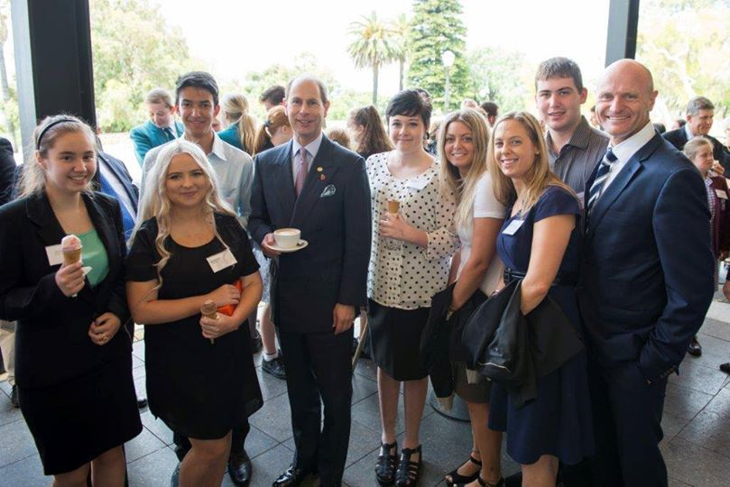 His Royal Highness; Prince Edward (center) standing with members of the Youth Focus Kokoda Team featured in the film